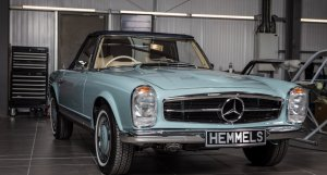Mercedes 280SL in Horizon Blue, rebuilt by Hemmels