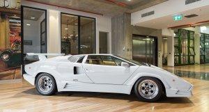 1989 Lamborghini Countach in white with beige leather interior at dutton garage 41 madden grove richmond melbourne victoria australia make mine rare classic cars