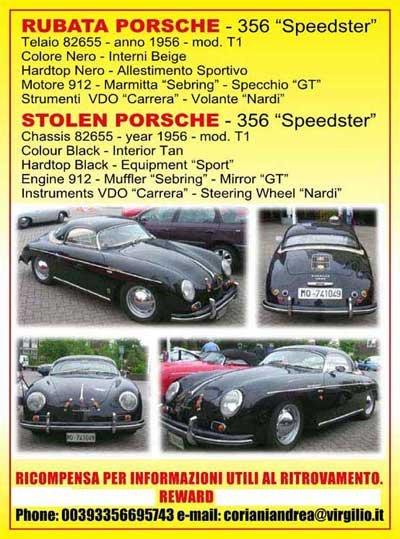 Porsche 356 Speedster: Gestohlen
