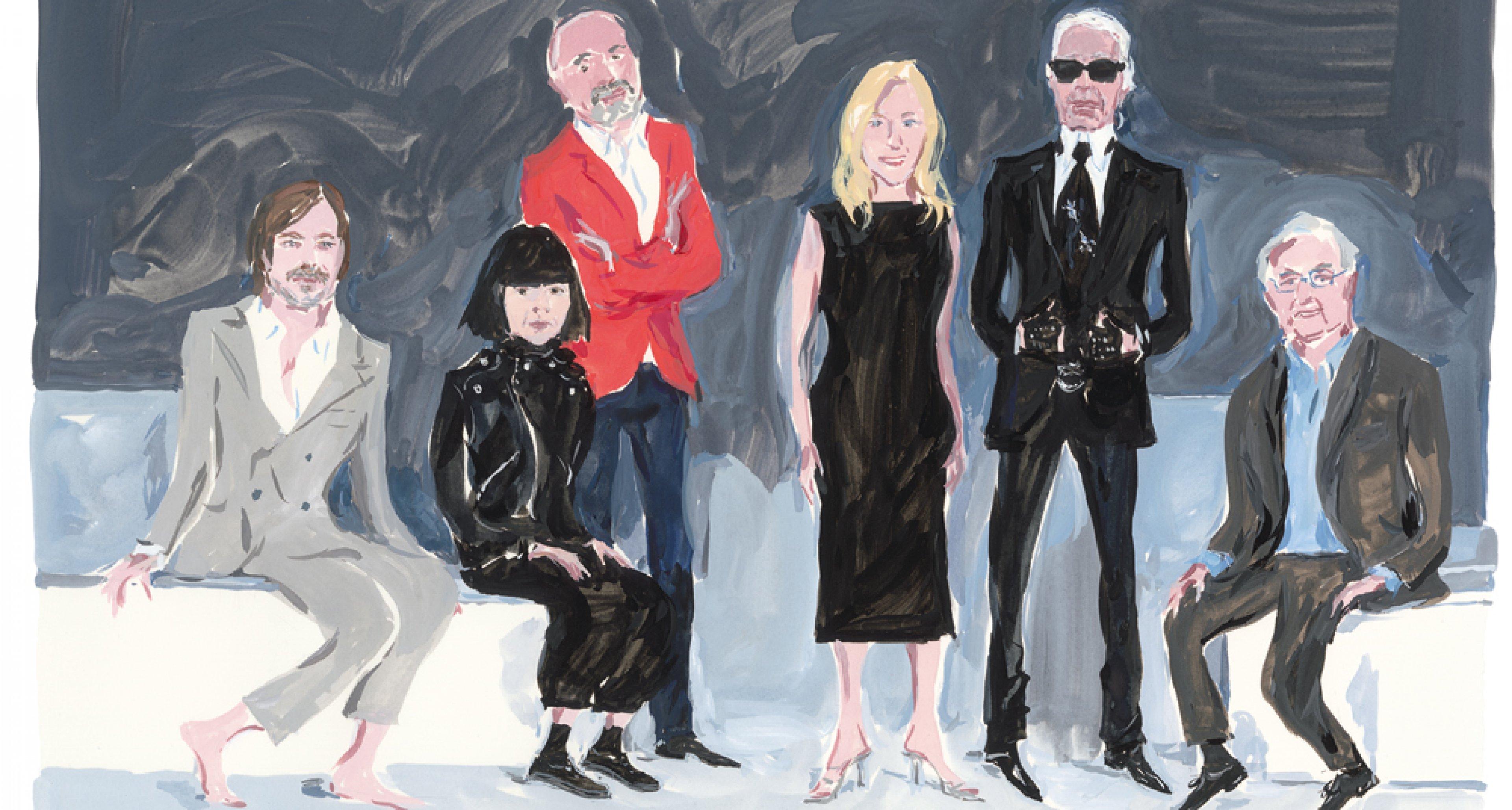 Die Modedesigner Karl Lagerfeld und Rei Kawakubo, die Künstlerin Cindy Sherman, der Architekt Frank Gehry, der Produktdesigner Marc Newson und der Schuh-Kreateur Christian Louboutin, gemalt von Jean-Philippe Delhomme.