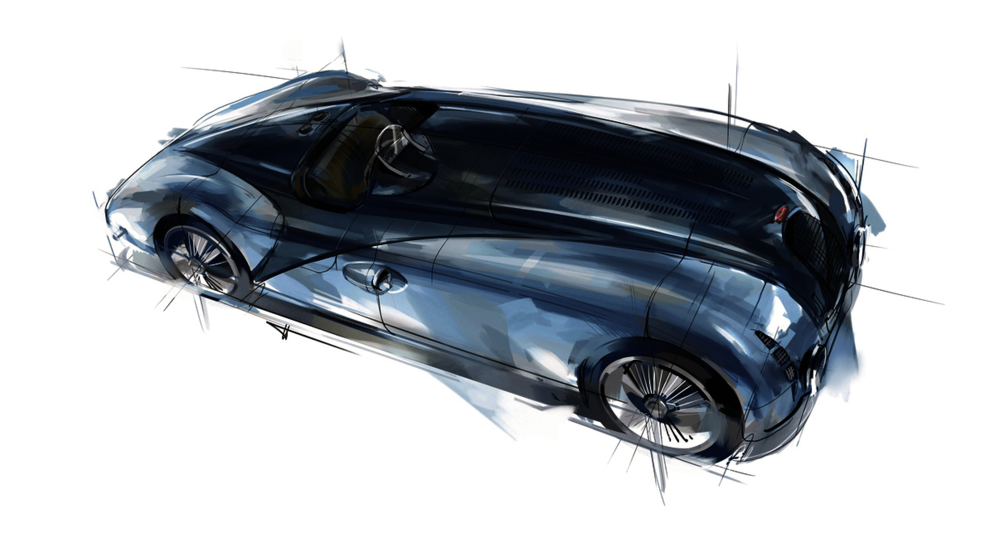 "Design sketch of the Type 57 G Tank, the winning race car from 1937, which was the inspiration behind the design of the ""Jean-Pierre Wimille"" Bugatti Legend car."