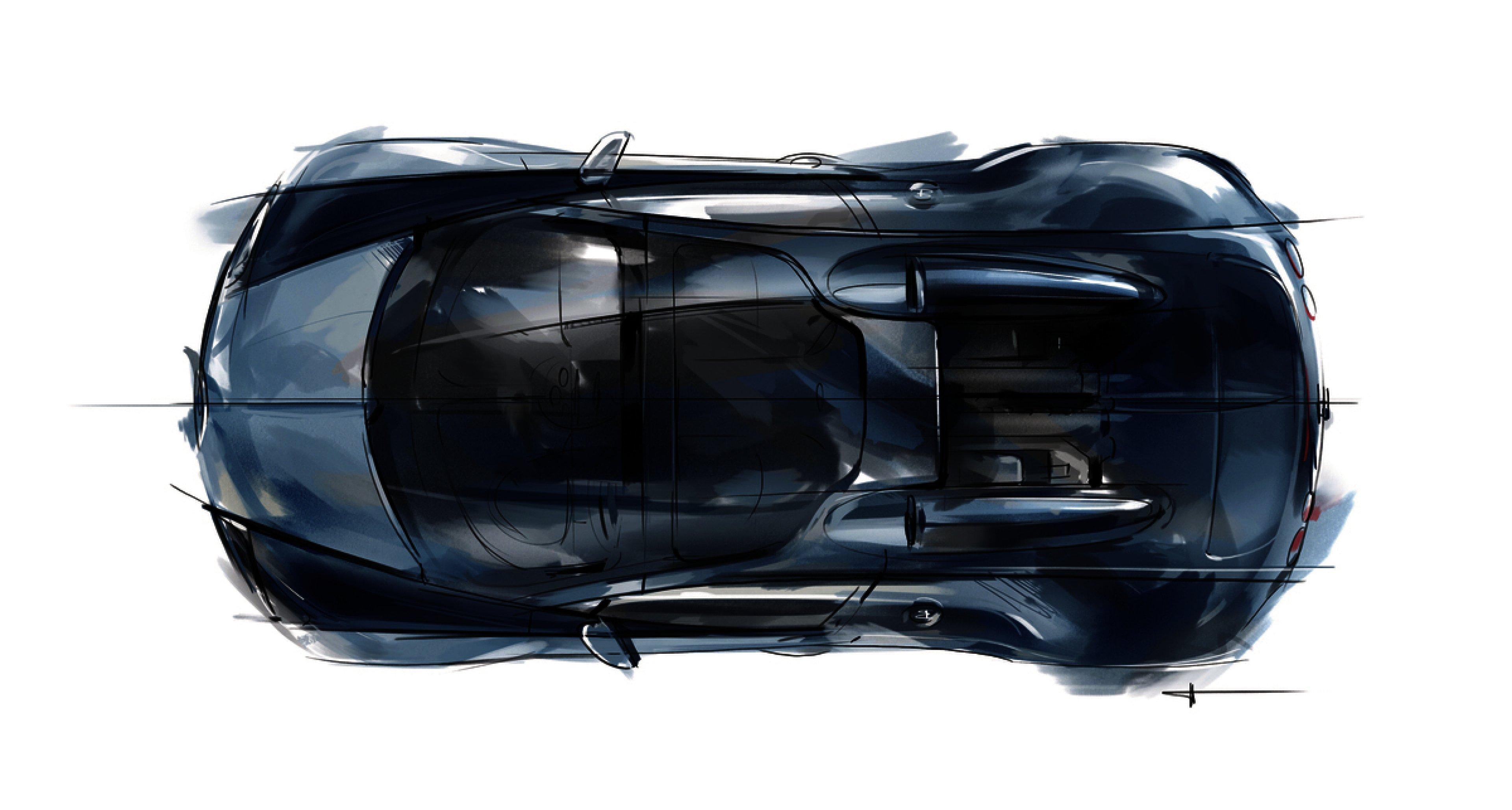 "Design sketch of the Bugatti Legend ""Jean-Pierre Wimille"", top-down view."