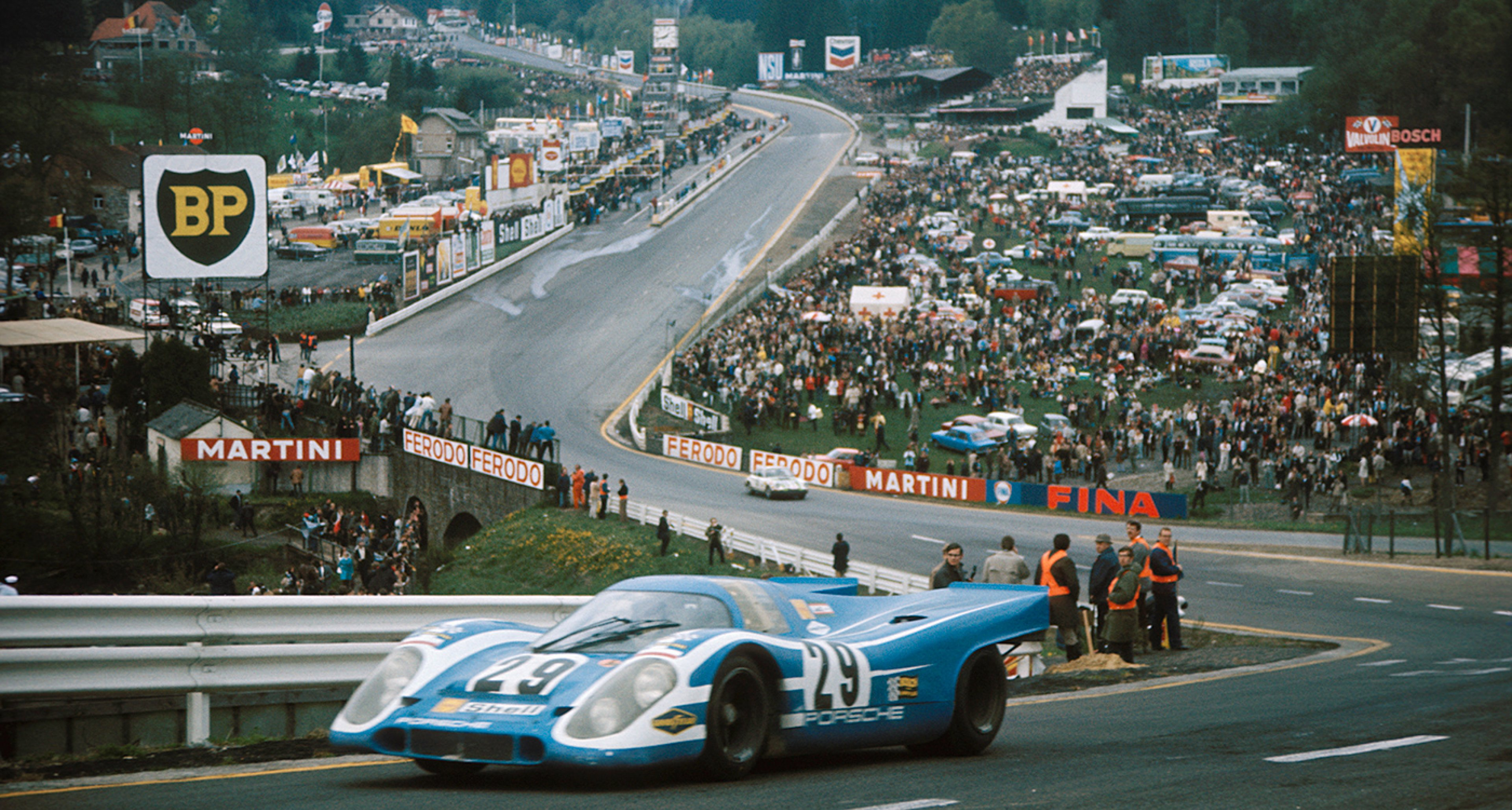 A Porsche 917K roars through Eau Rouge, finishing 6th, 1000 km Spa 1970, Spa-Francorchamps, Belgium, 17 May 1970. (Photo by Rainer W. Schlegelmilch/Getty Images)