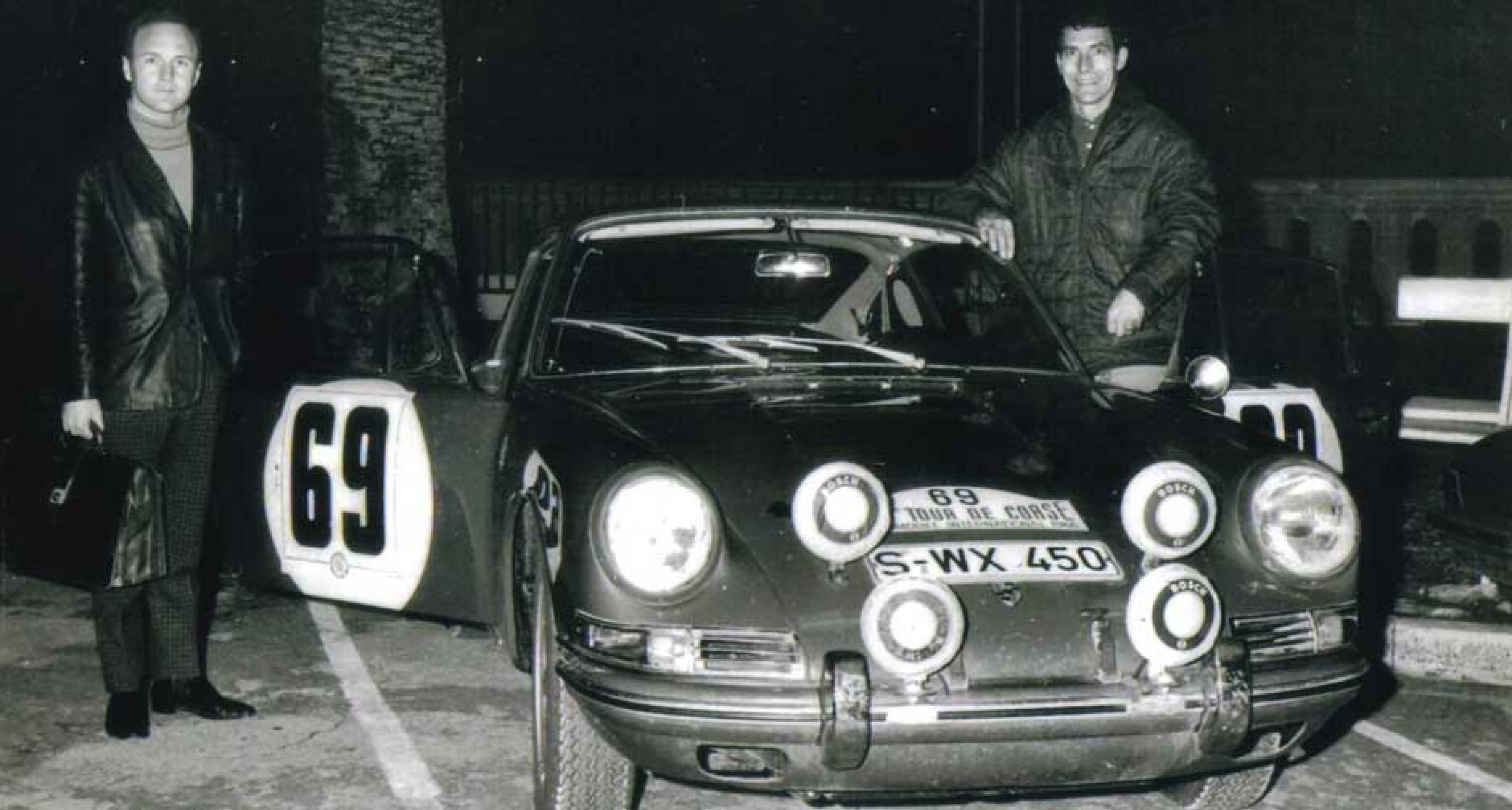 """Elford's first ever drive in a 911: 24 hours of the Tour de Corse in 1966, """"learning to drive it"""". They finished third."""