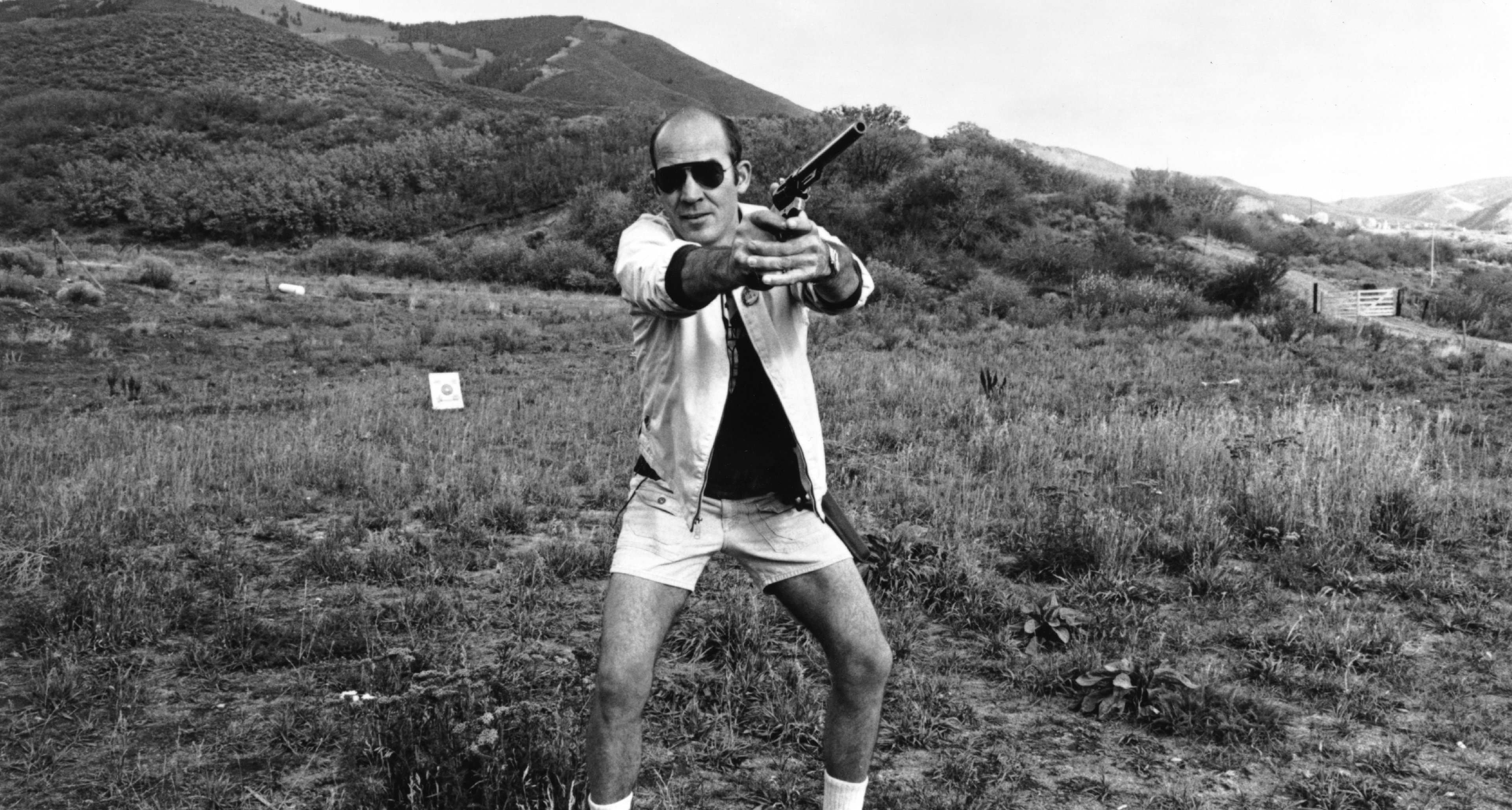 Gonzo Journalist Hunter S. Thompson giving it a shot around 1976.