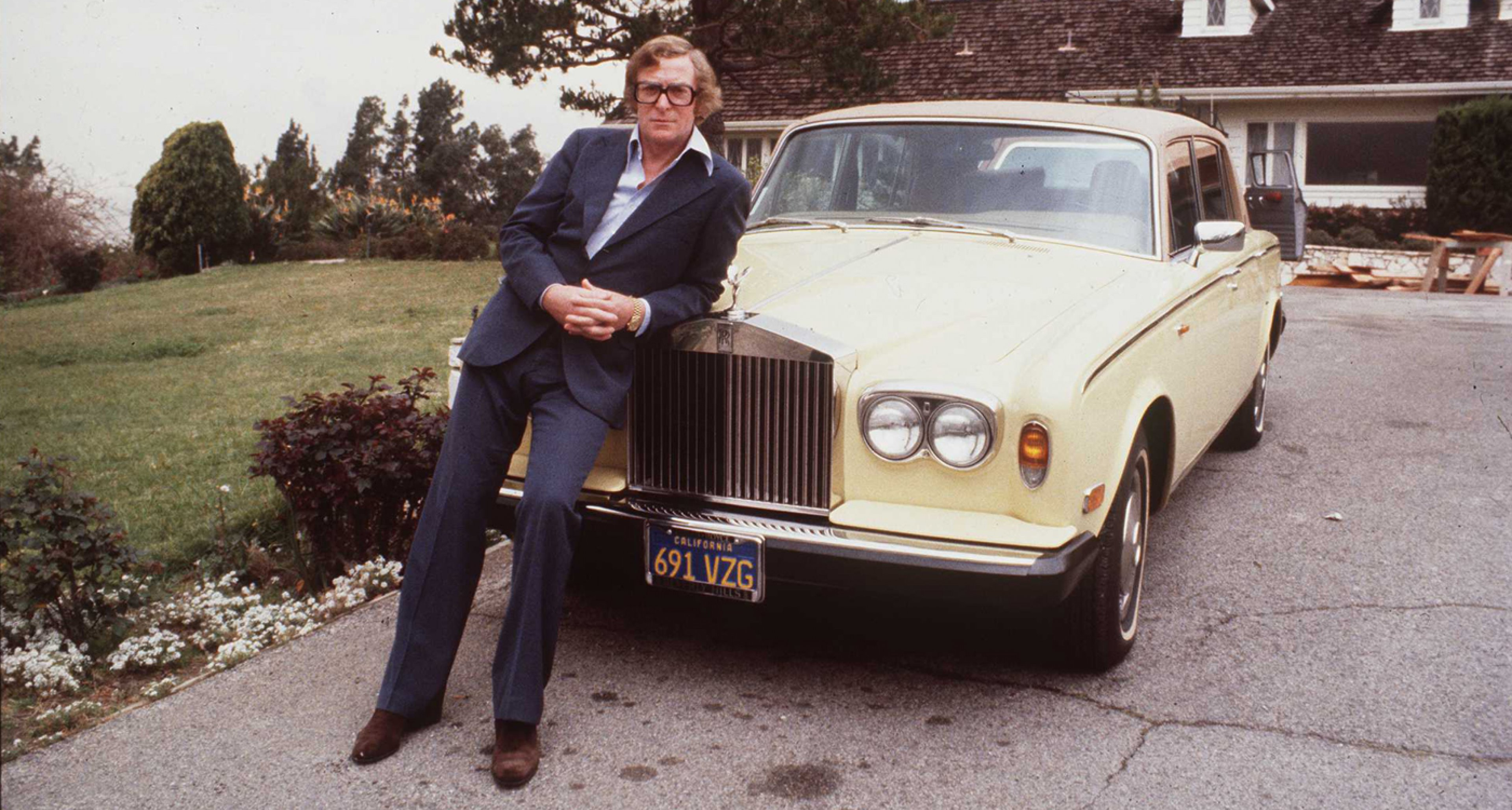 Michael Caine and his Rolls-Royce.