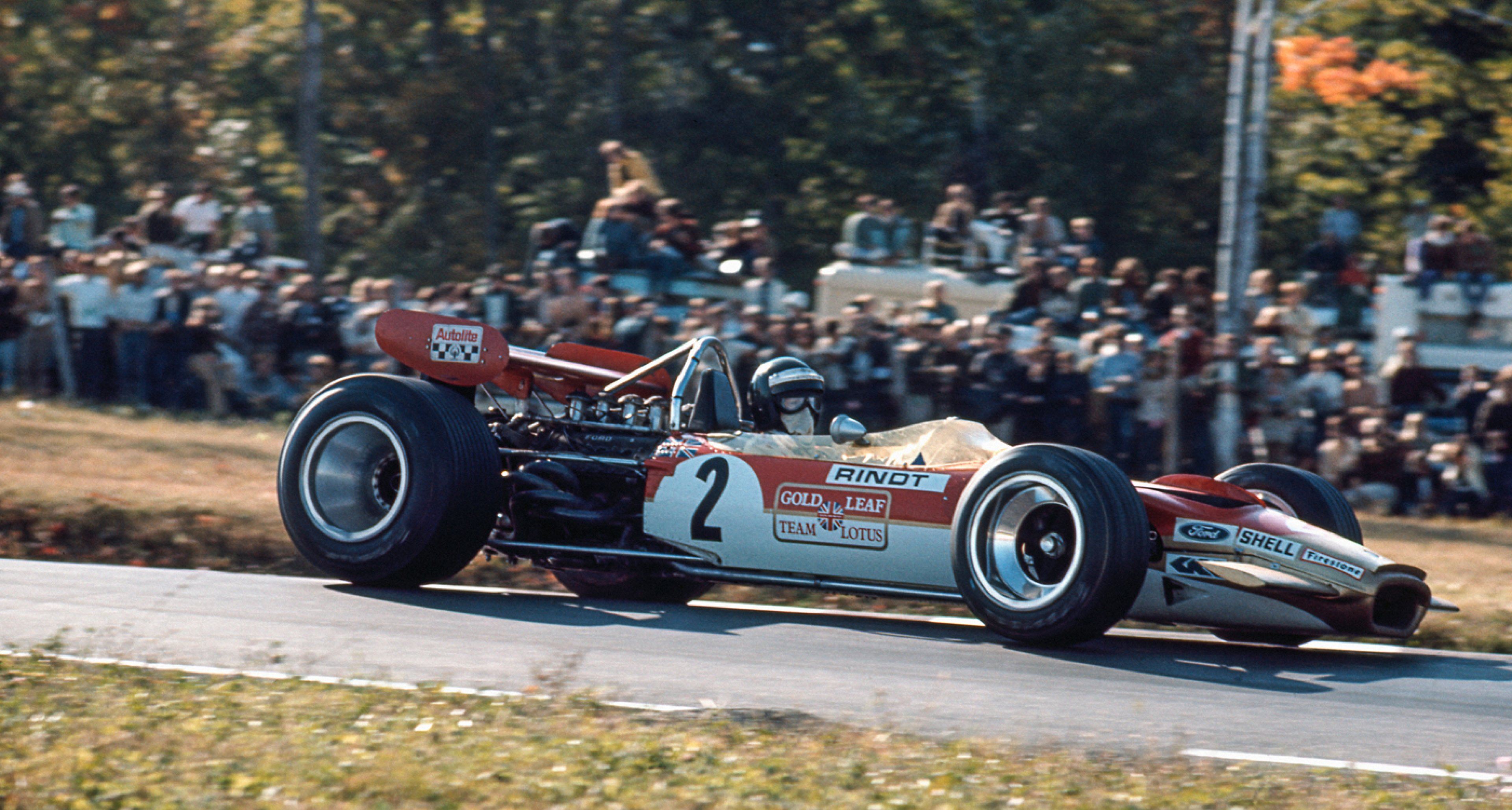 Jochen Rindt in a Lotus 49B-Cosworth on his way to victory at the United States Grand Prix at Watkins Glen in 1969.