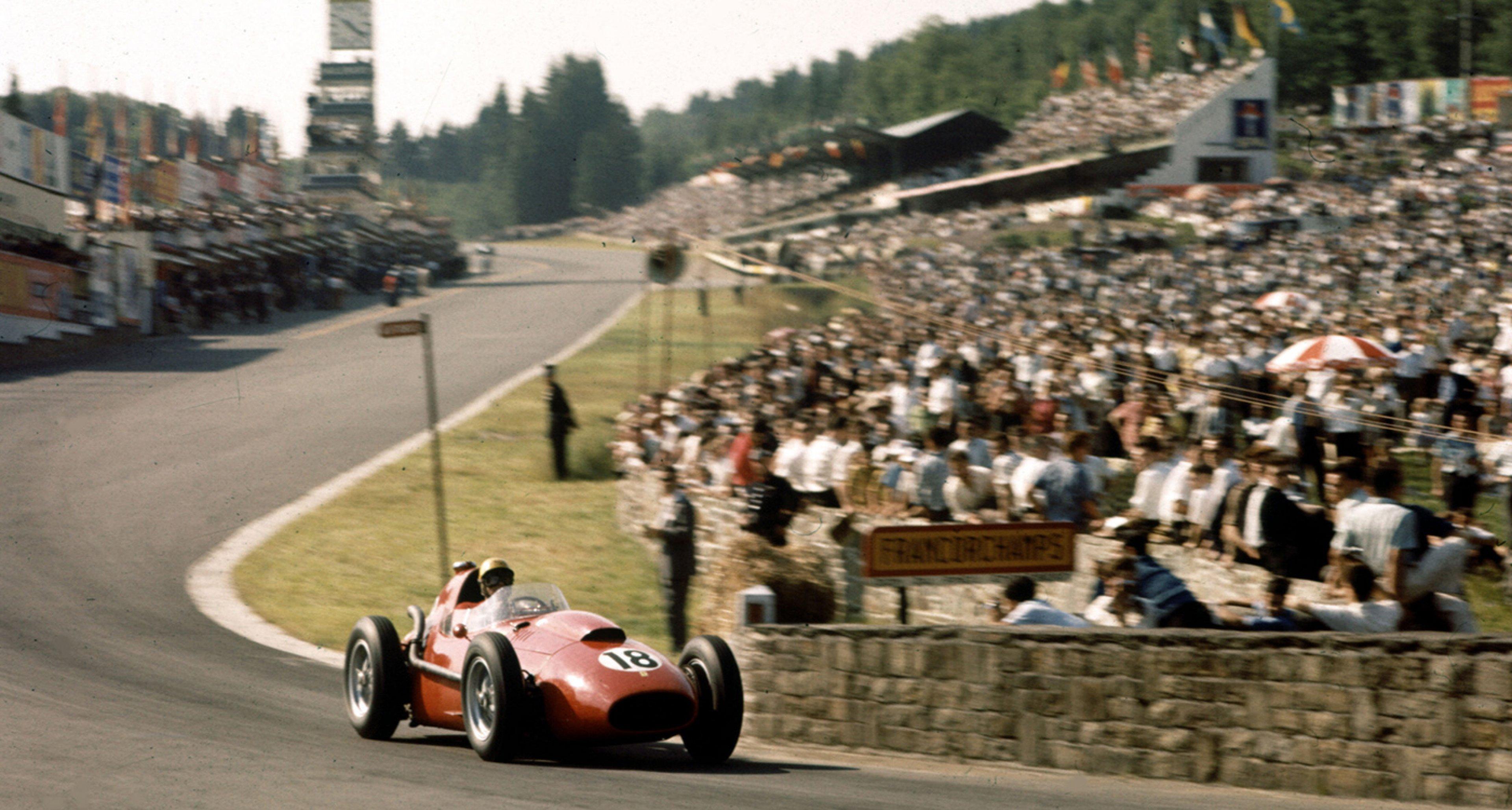 1958 Belgian Grand Prix, Luigi Musso at the wheel of his Ferrari Dino 246