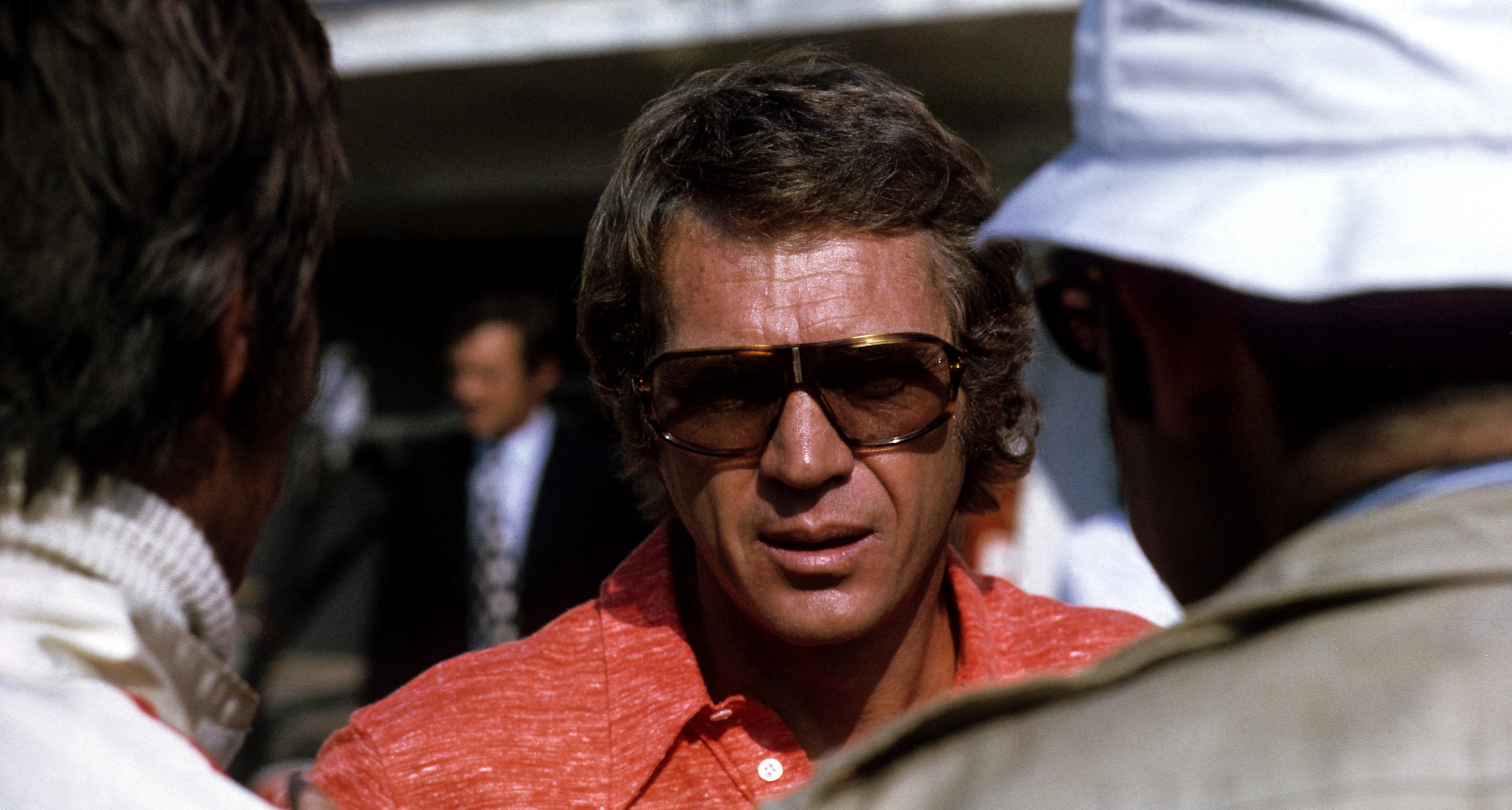 Steve McQueen on the set of 'Le Mans' in 1971.
