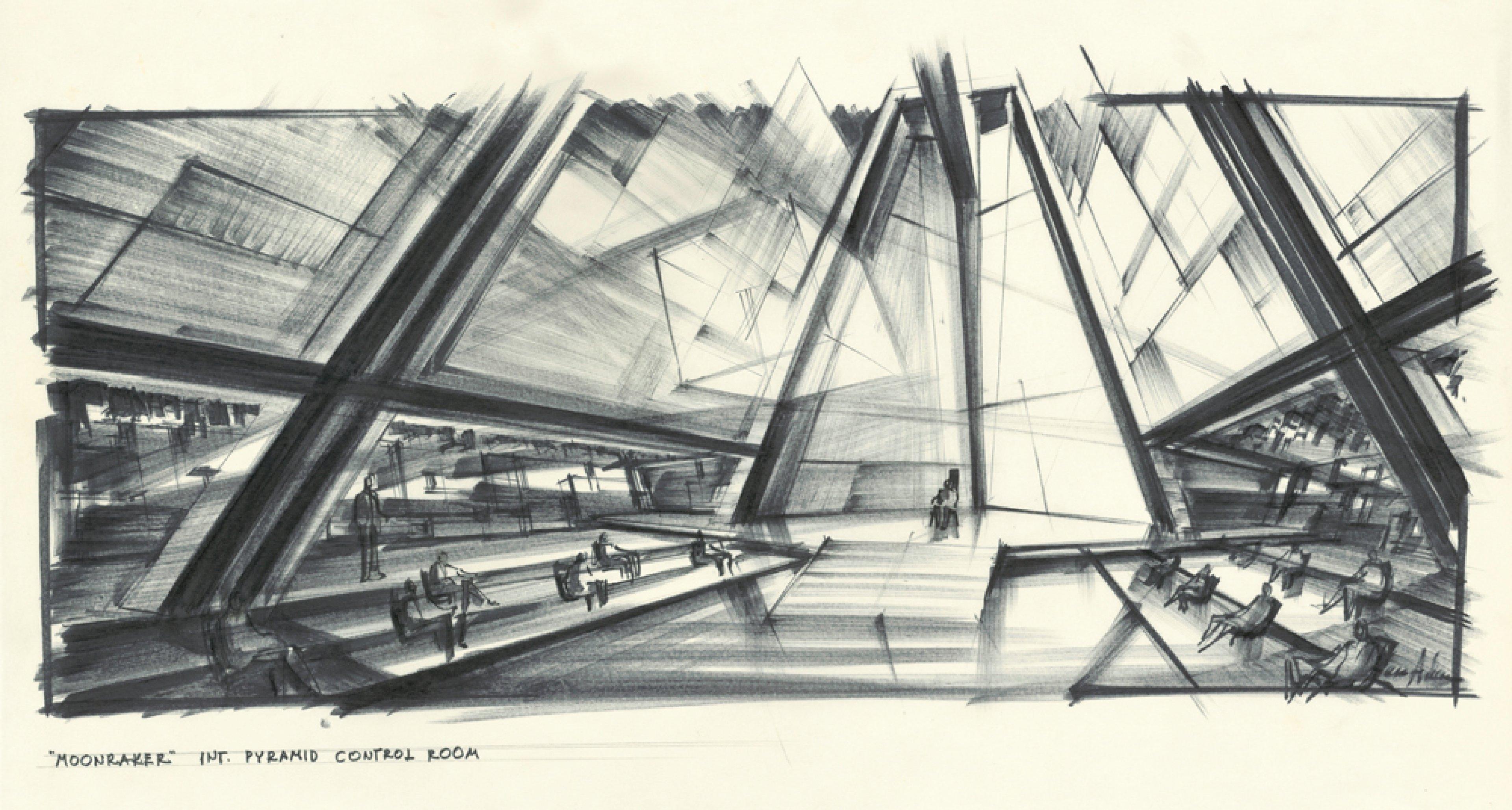 """Entwurf """"Pyramid Control Room"""" für MOONRAKER GB/F 1979, Regie: Lewis Gilbert © Sir Ken Adam Quelle: Deutsche Kinemathek – Ken Adam Archiv"""