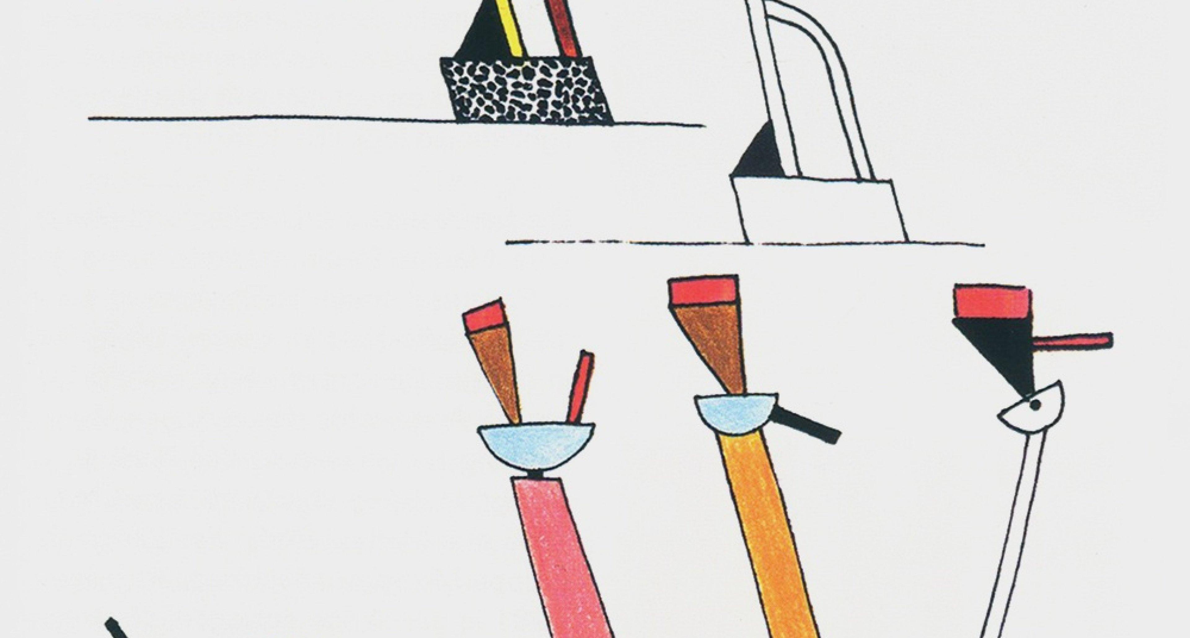 Drawings for lamps Tahiti and Cavalieri, 1981.