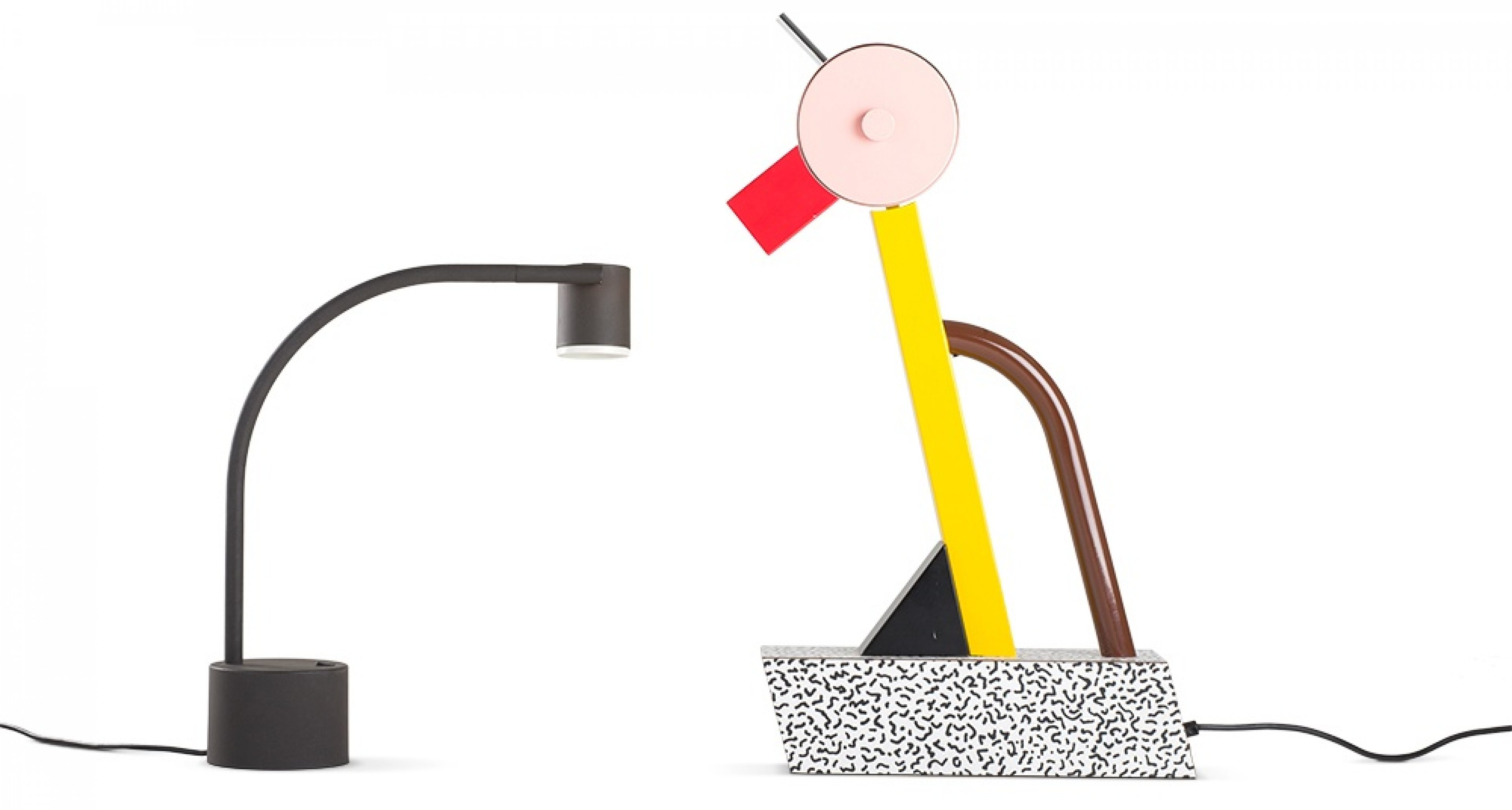 Table lamps Halo Click ca. 1988 (Manufactured by Philips) and Tahiti, 1981, (Manufactured by Memphis). Photo by Jürgen Hans
