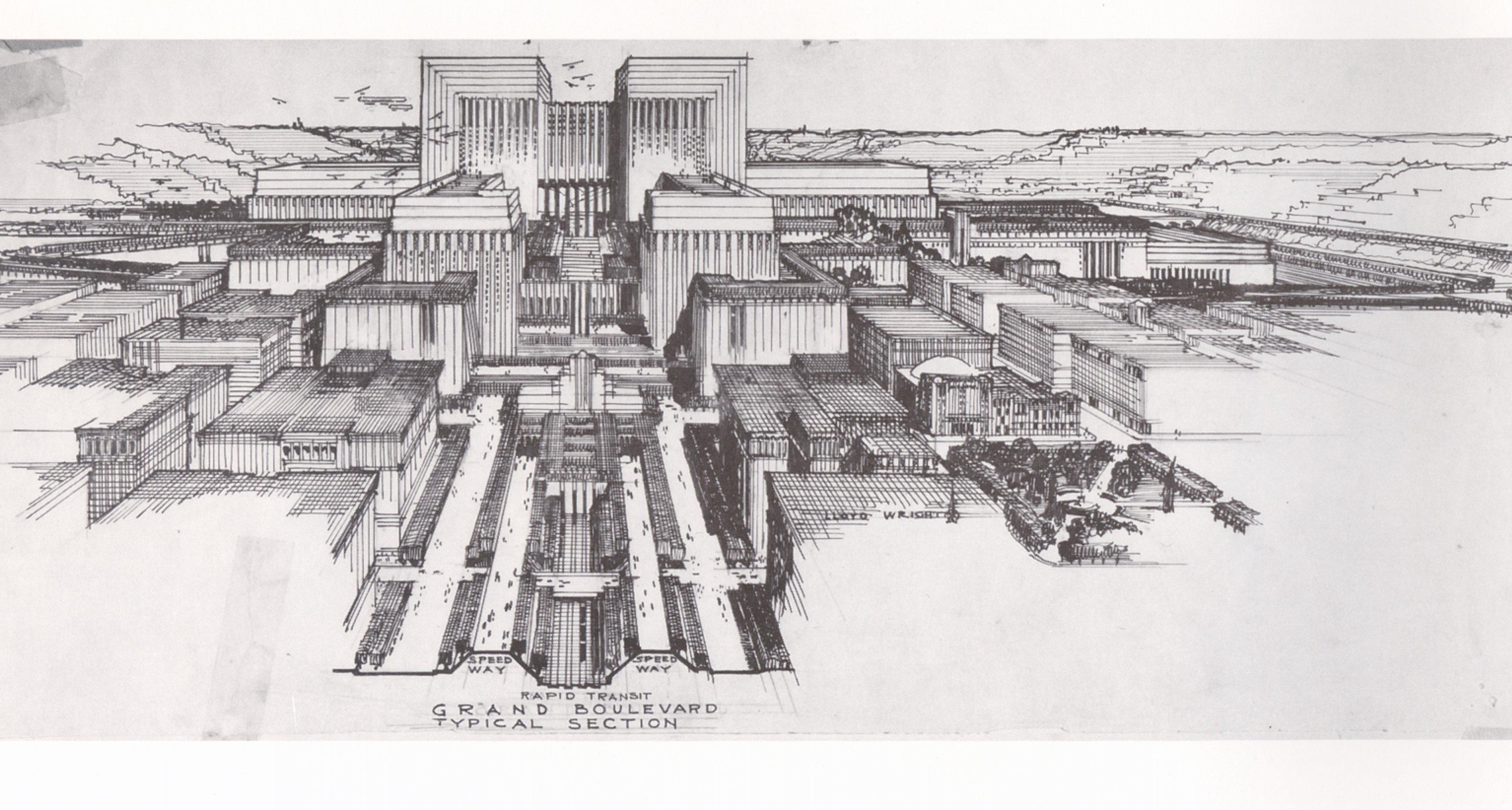 Lloyd Wright Civic Center Plan 1925 (Courtesy Eric Lloyd).