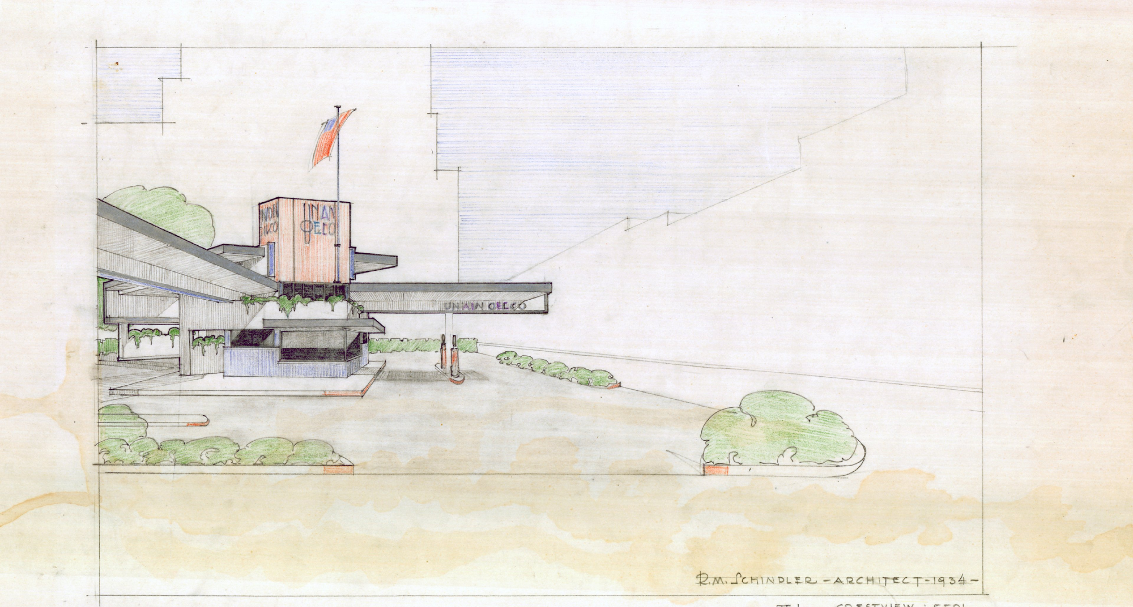 Rudolph Schindler Union Oil Gas Station prototype, 1933 (Art Design and Architecture Library UCSB).