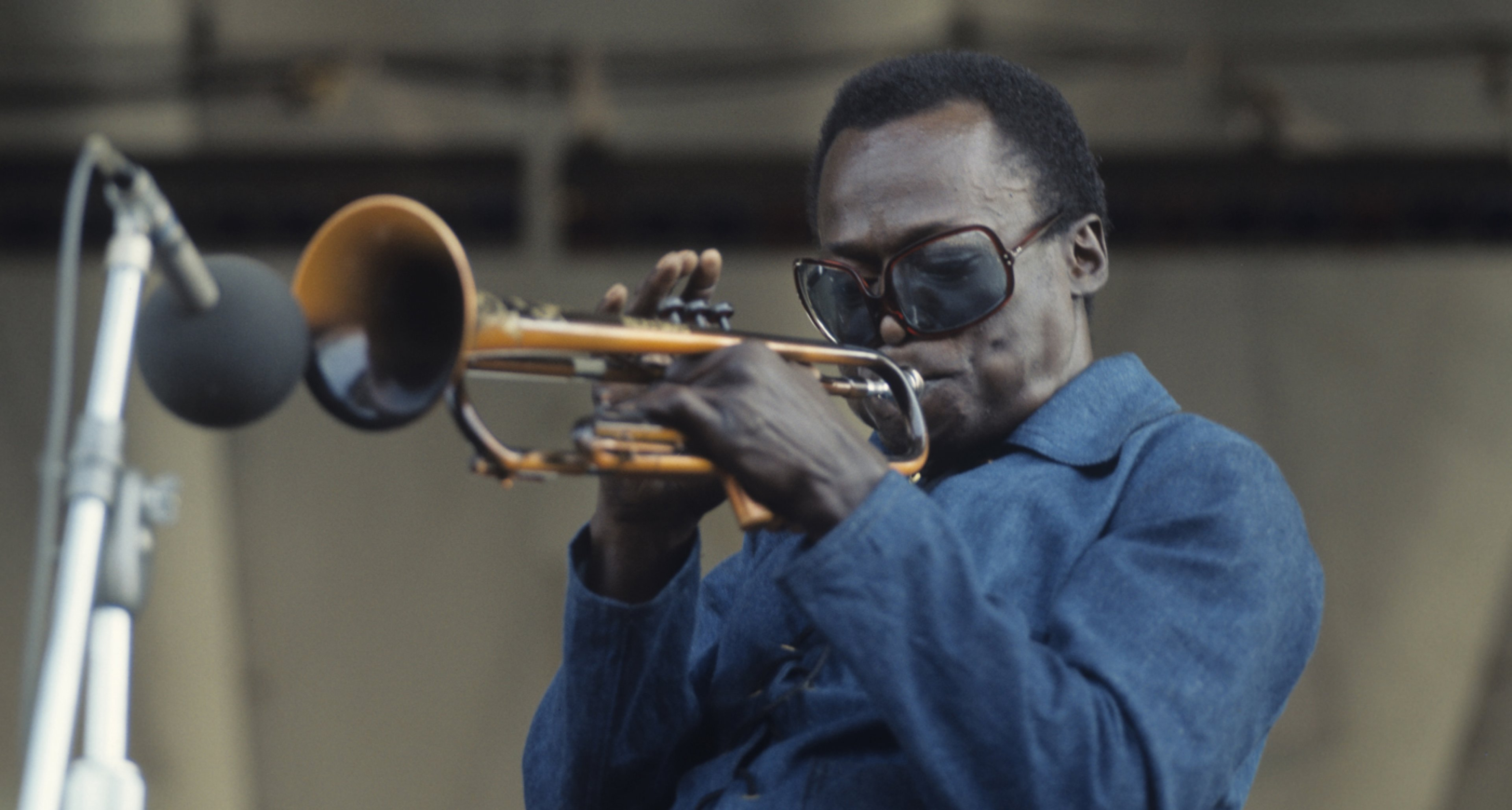 Miles Davis performing at the Newport Jazz Festival in 1969.