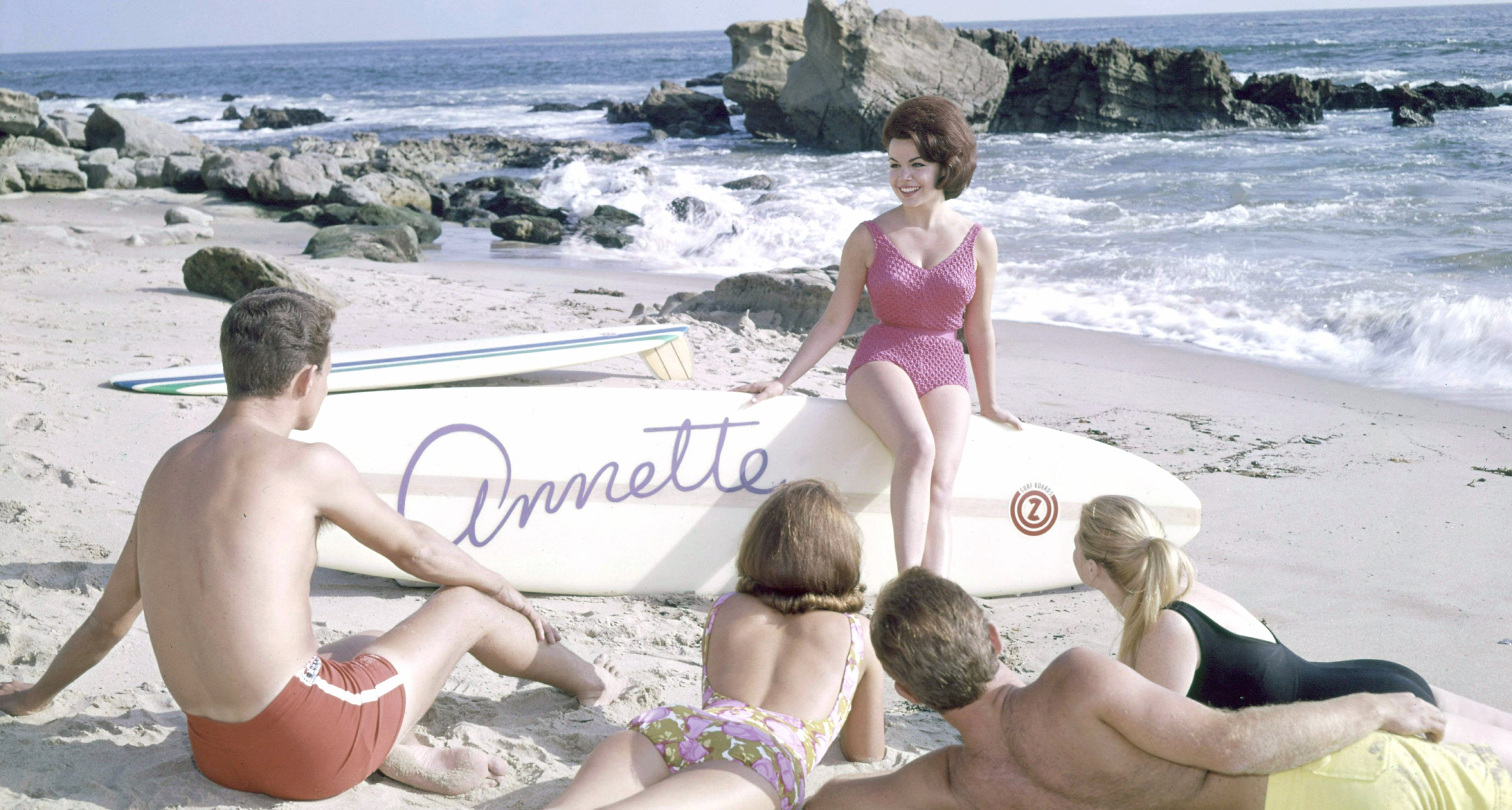 Promotional photo of American actor and singer Annette Funicello for her album, 'Muscle Beach Party', circa 1964.