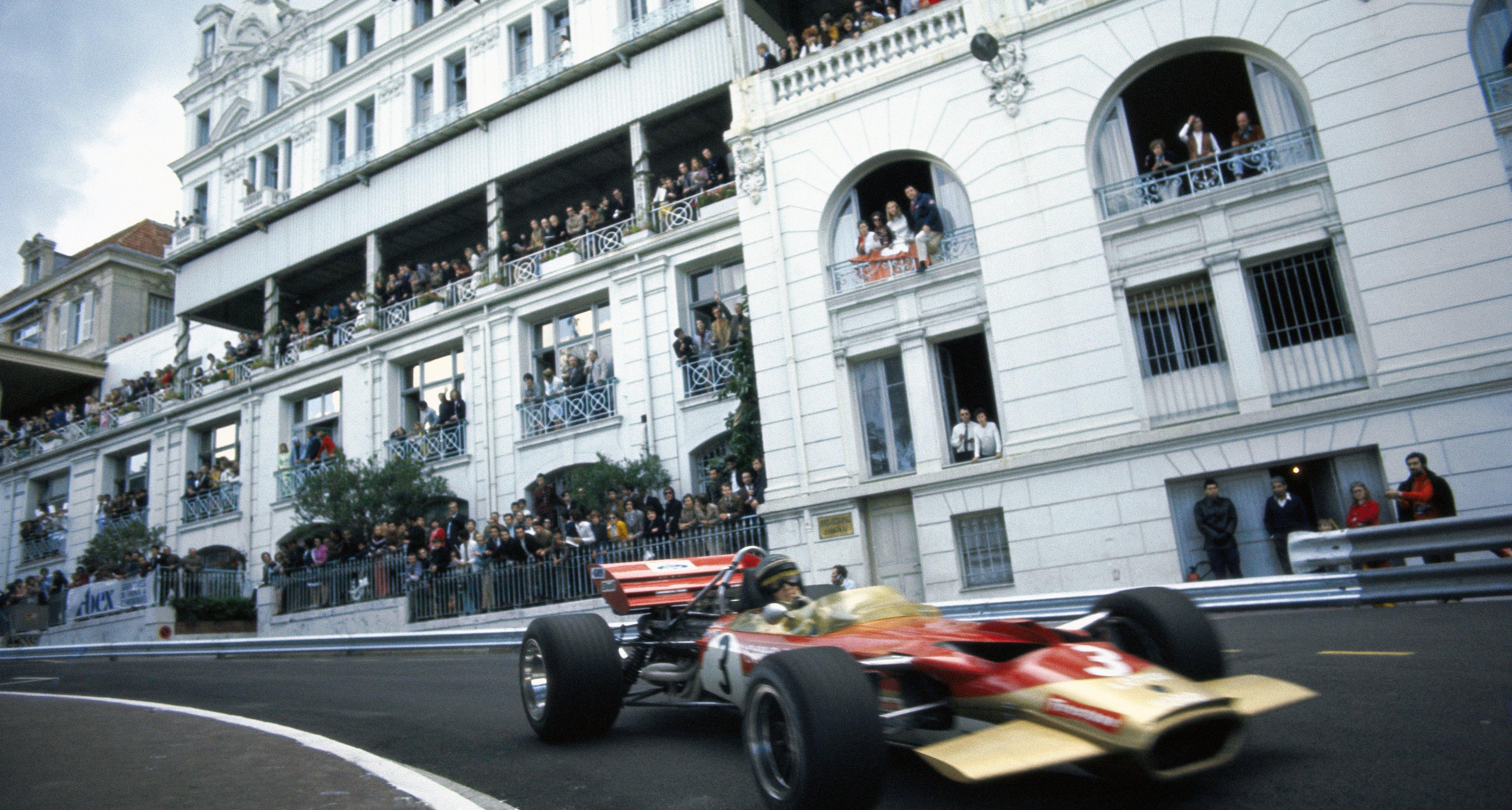 Jochen Rindt drives into Mirabeau corner at Monaco Grand Prix 1970.