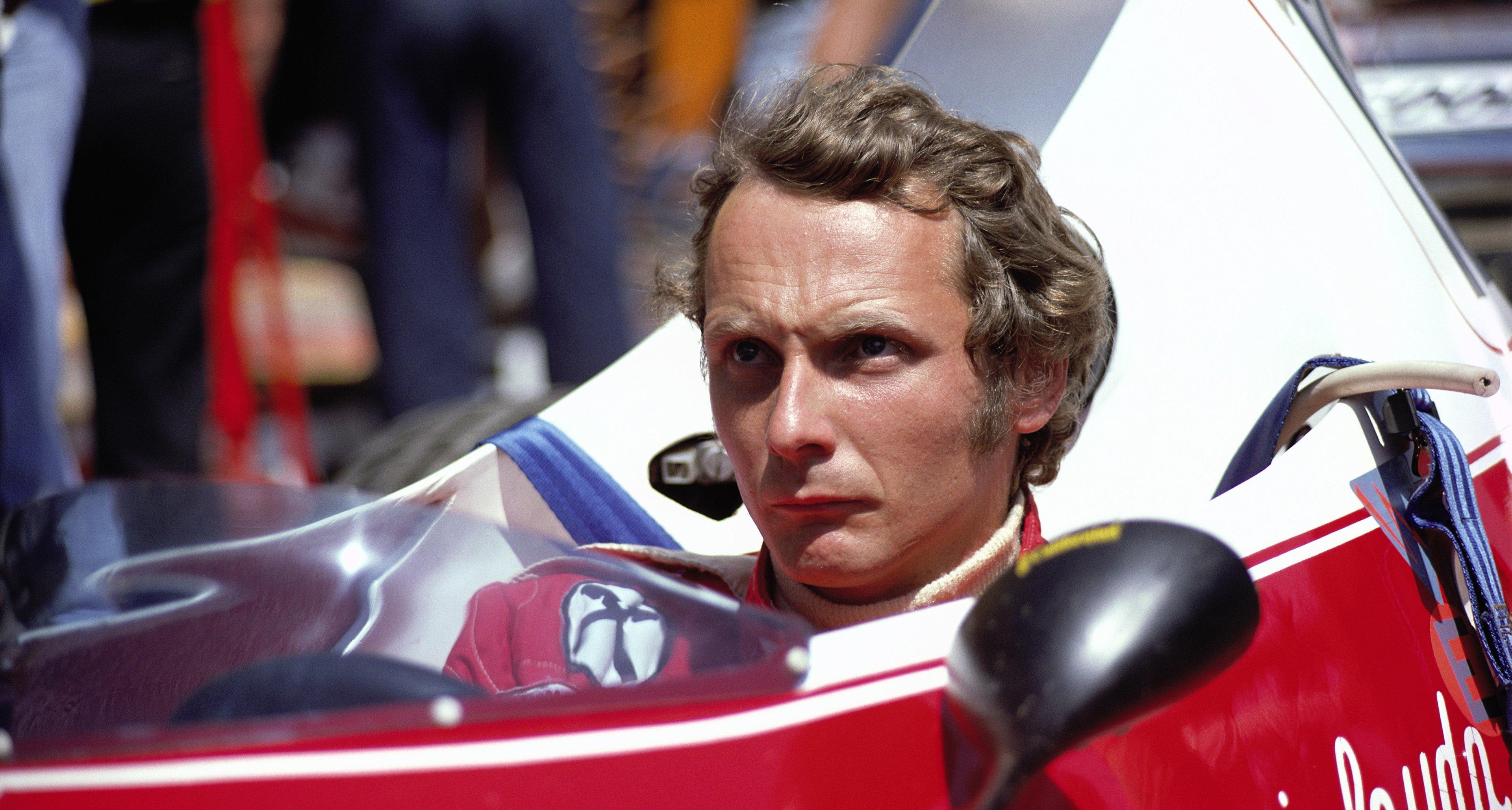 Ferrari driver and championship leader Niki Lauda, German Grand Prix, Nurburgring, 1975, Germany,