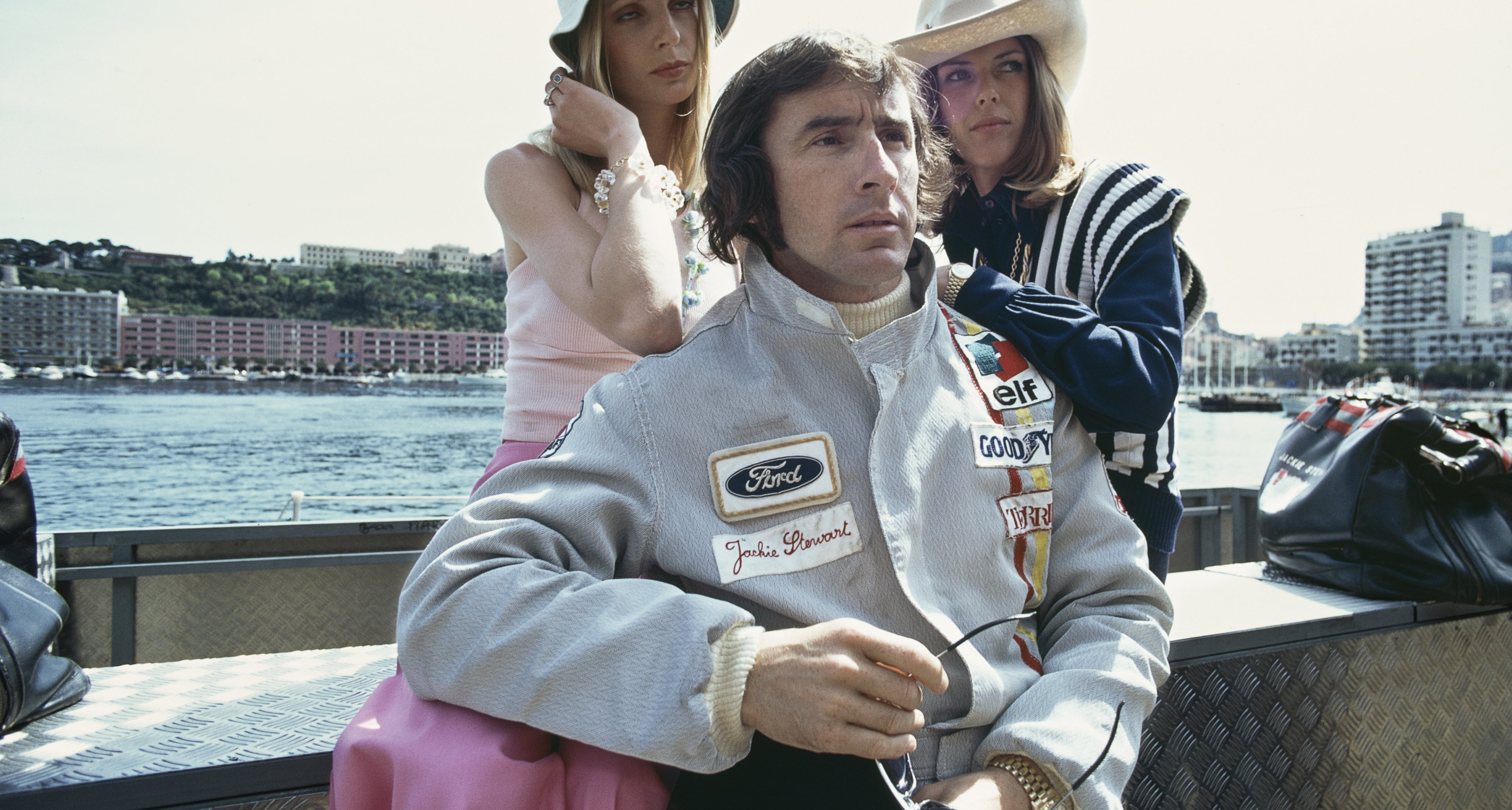 Jackie Stewart, driver of the #1 Elf Team Tyrrell Tyrrell 004 Ford Cosworth DFV, with his wife Helen before the start of the Grand Prix of Monaco on 14th May 1972.