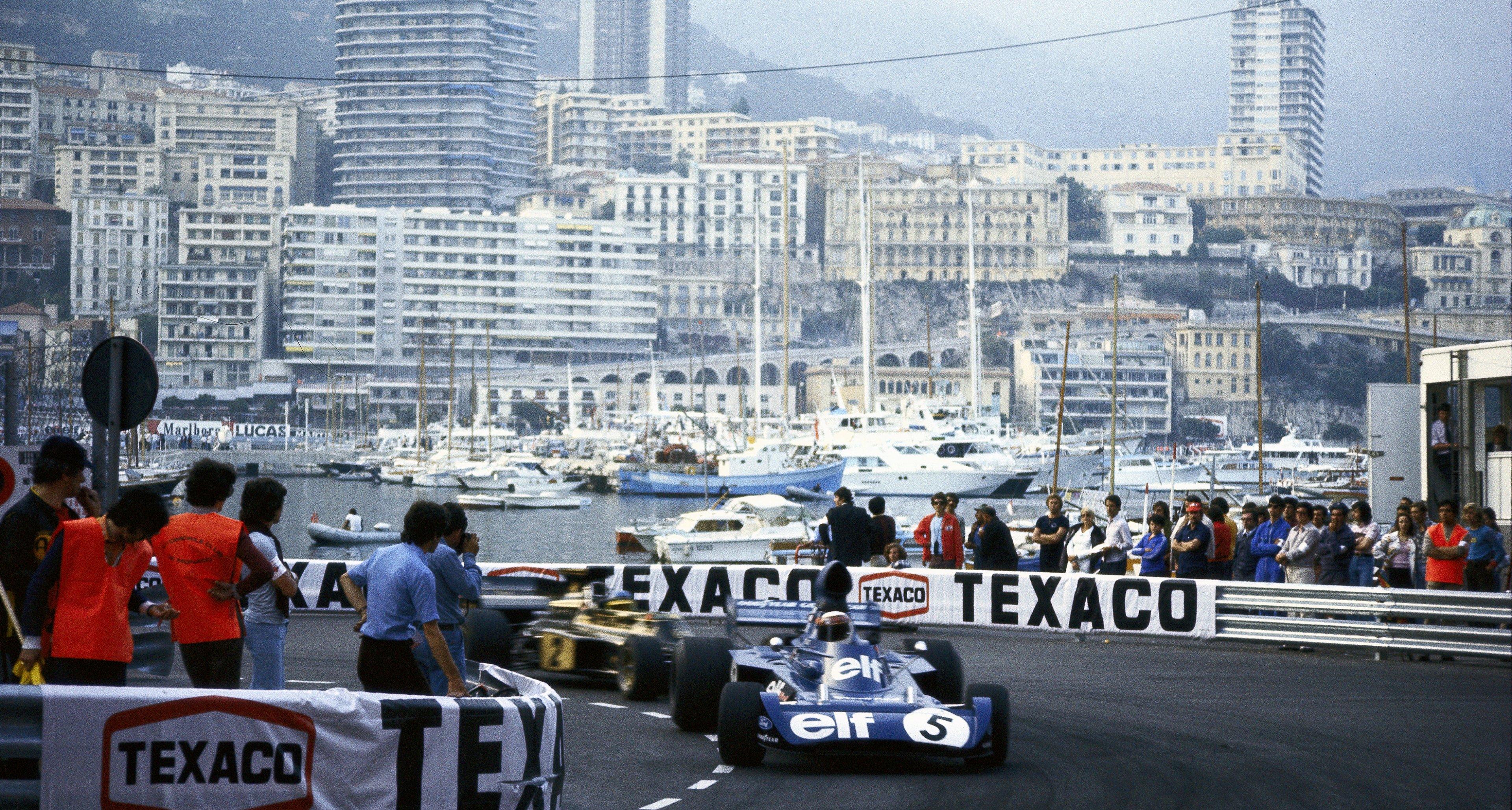 Jackie Stewart leads Peterson's Lotus at Monaco Grand Prix 1973