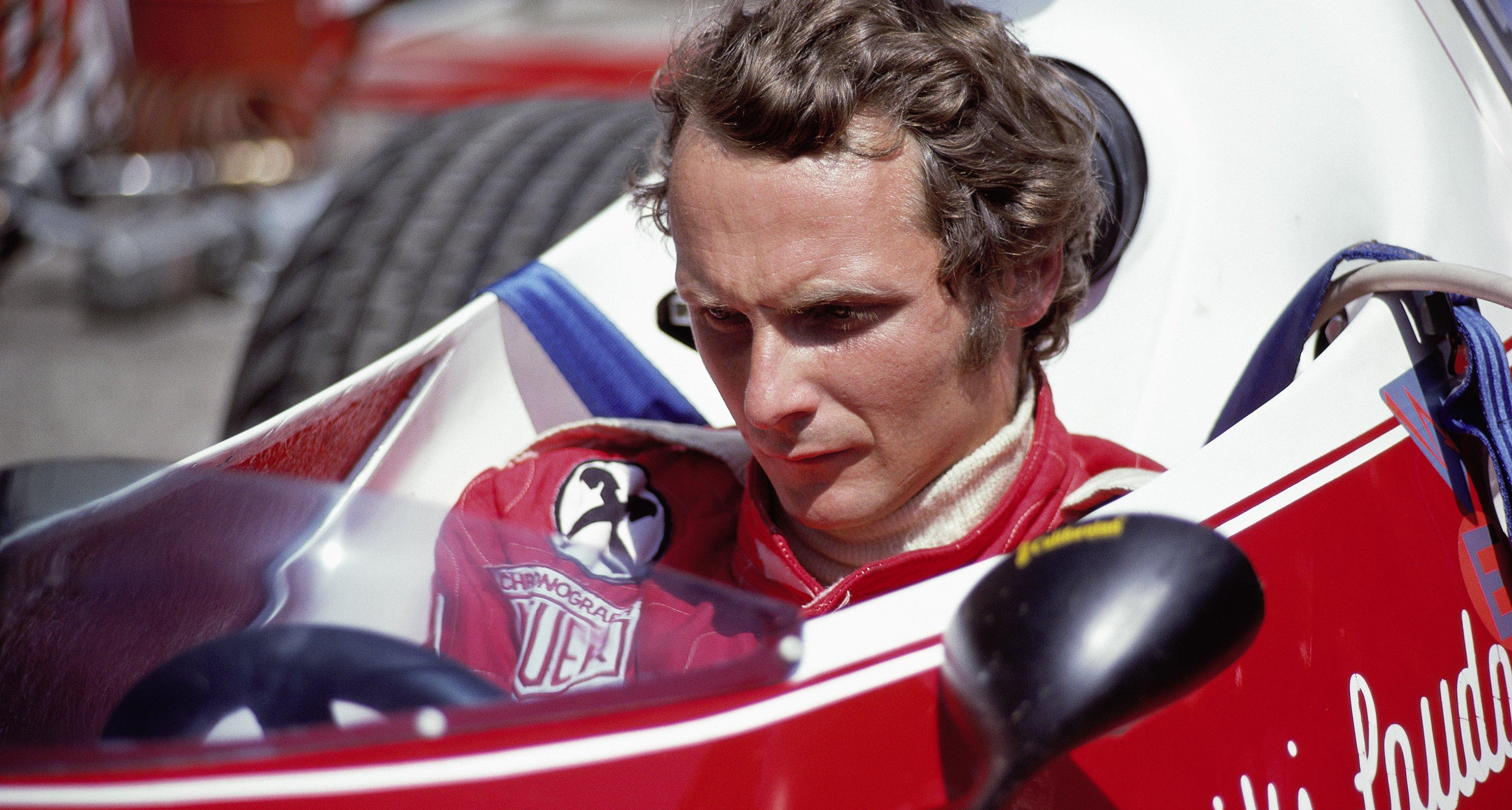 Niki Lauda in his Ferrari 312T at the 1975 German Grand Prix at the Nürburgring.
