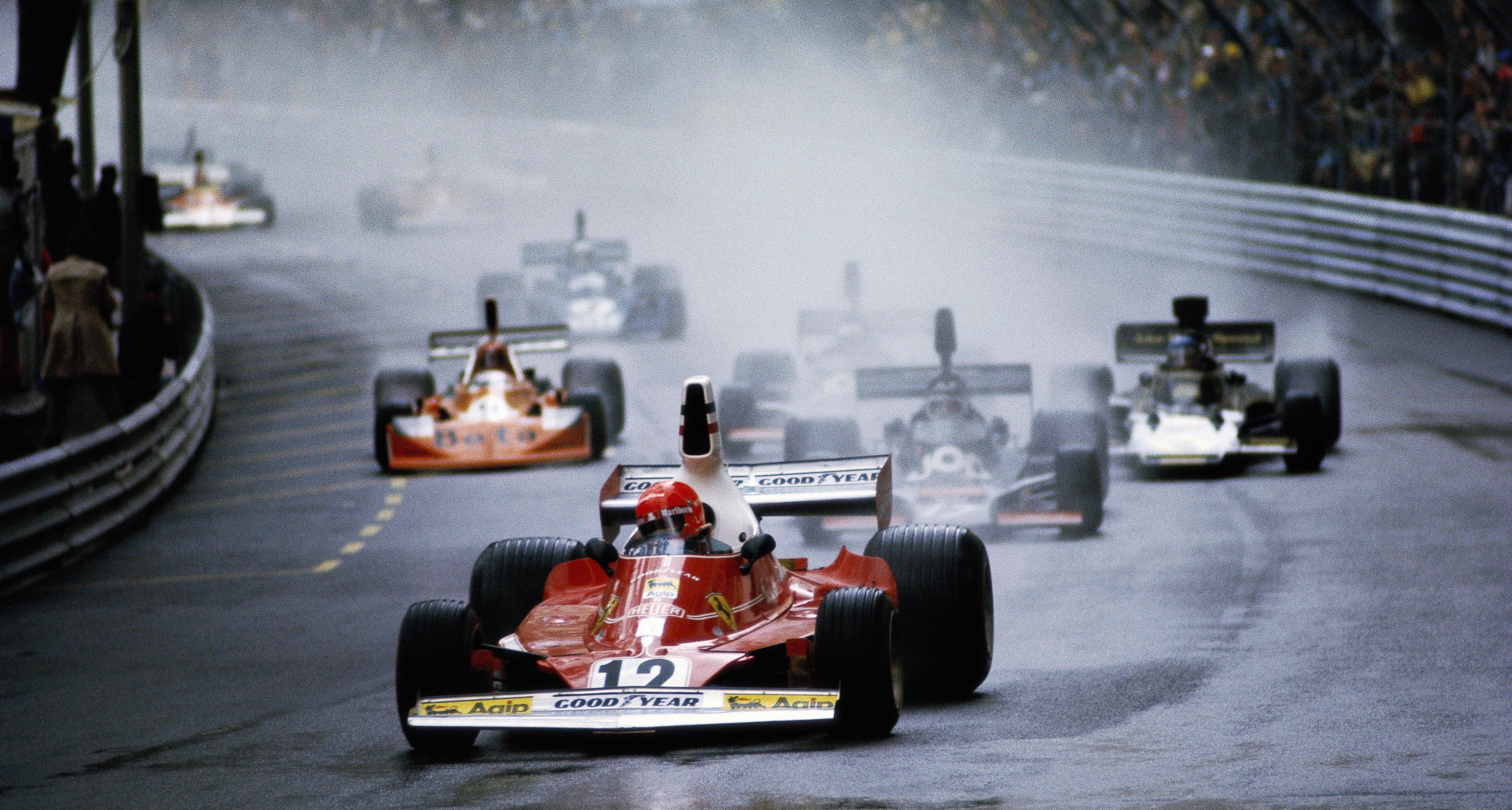 Ferrari's Niki Lauda leads Jean-Pierre Jarrier at the 1975 Monaco Grand Prix.