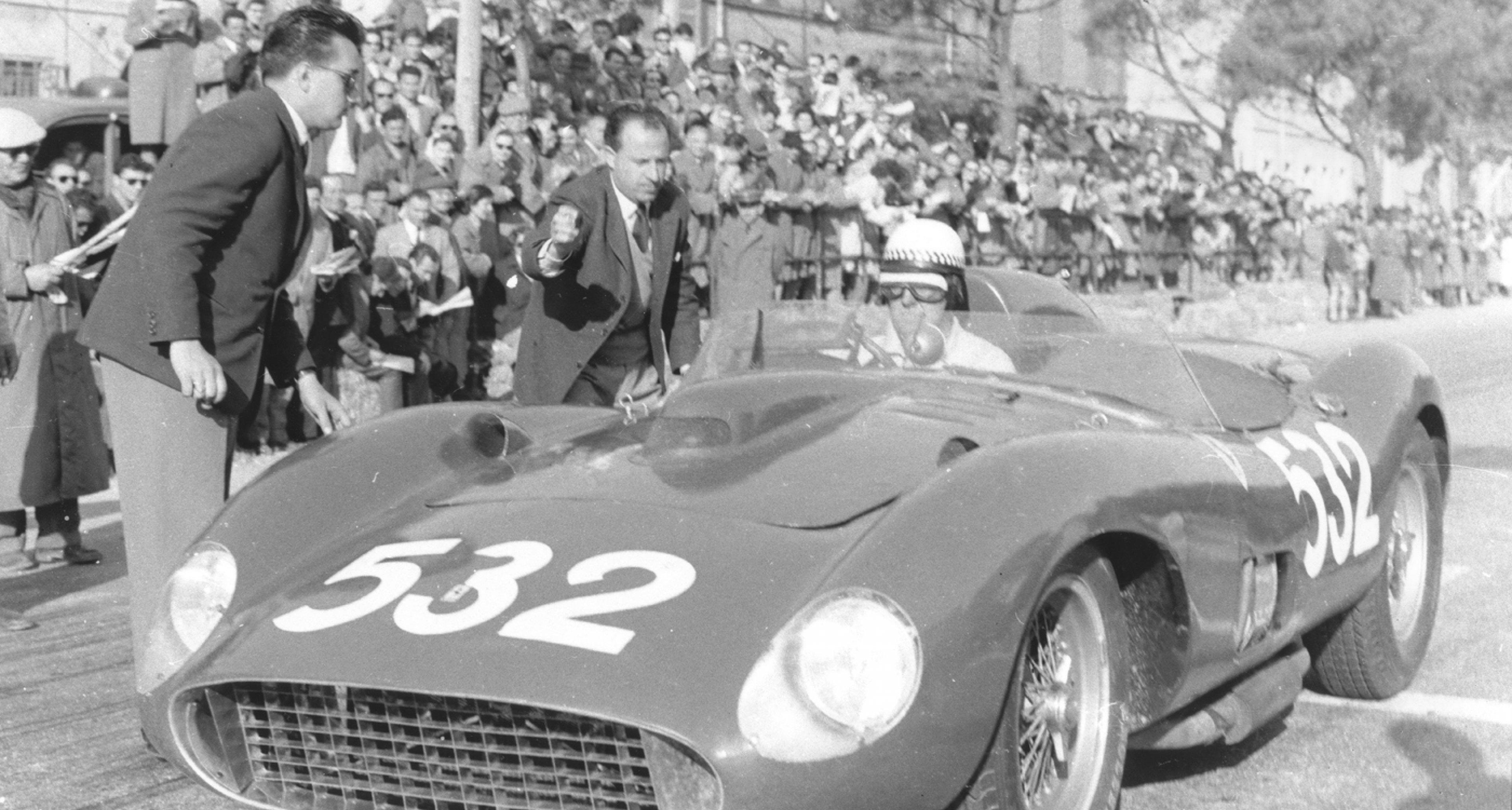 1957 Ferrari 335 S Scaglietti Spider, chassis 0674, estimate 28 - 32 M€ / 30 – 34 M$ Wolfgang von Trips, Mille Miglia 1957 © Ted Walker, Ferret Fotographic