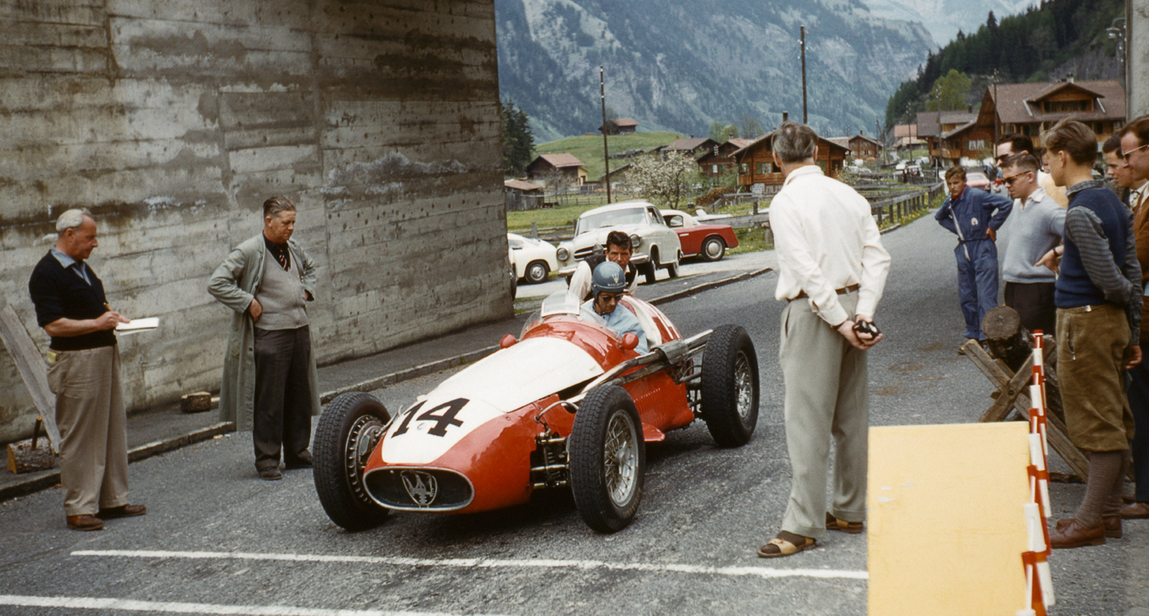Erwin Sommerhalder in his Maserati A6GCM/250F at the Nationales Bergrennen in Mitholz-Kandersteg, 1959.