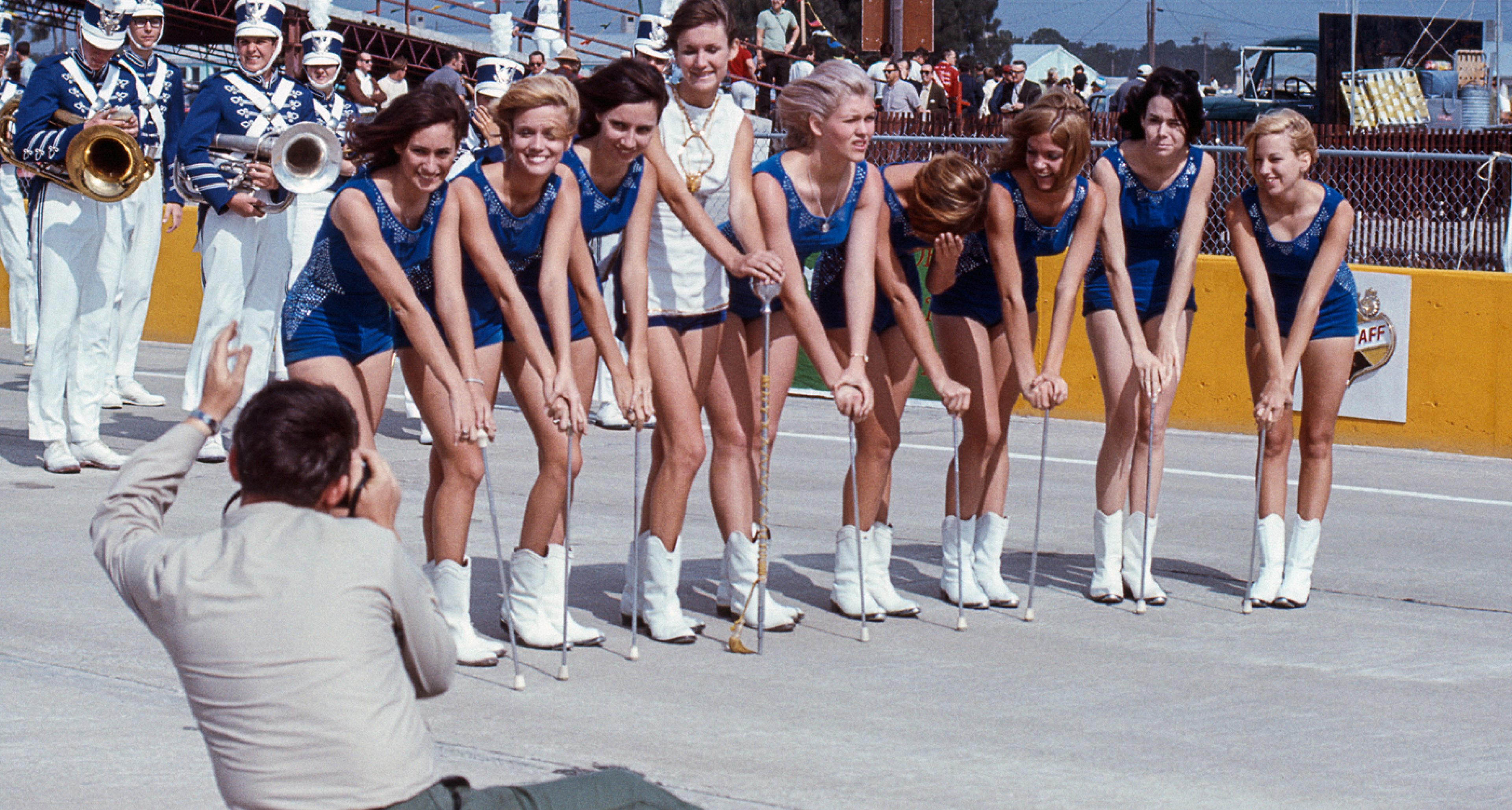 Majorettes from Sebring High School lined up at the 12 Hours of Sebring, 1967.