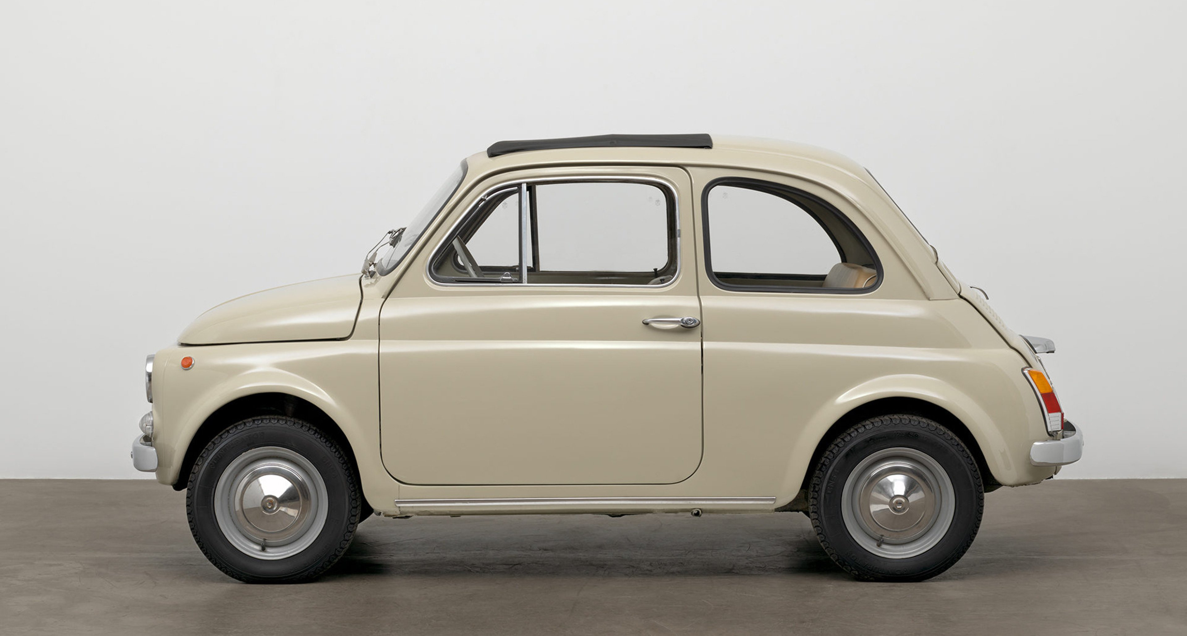 Dante Giacosa (Italian, 1905–1996). 500f city car. Designed 1957 (this example 1968). Steel with fabric top, 52 × 52 × 116 7/8″ (132.1 × 132.1 × 296.9 cm). Manufactured by Fiat S.p.A. (Turin, Italy, est. 1899). The Museum of Modern Art, New York. Gift of