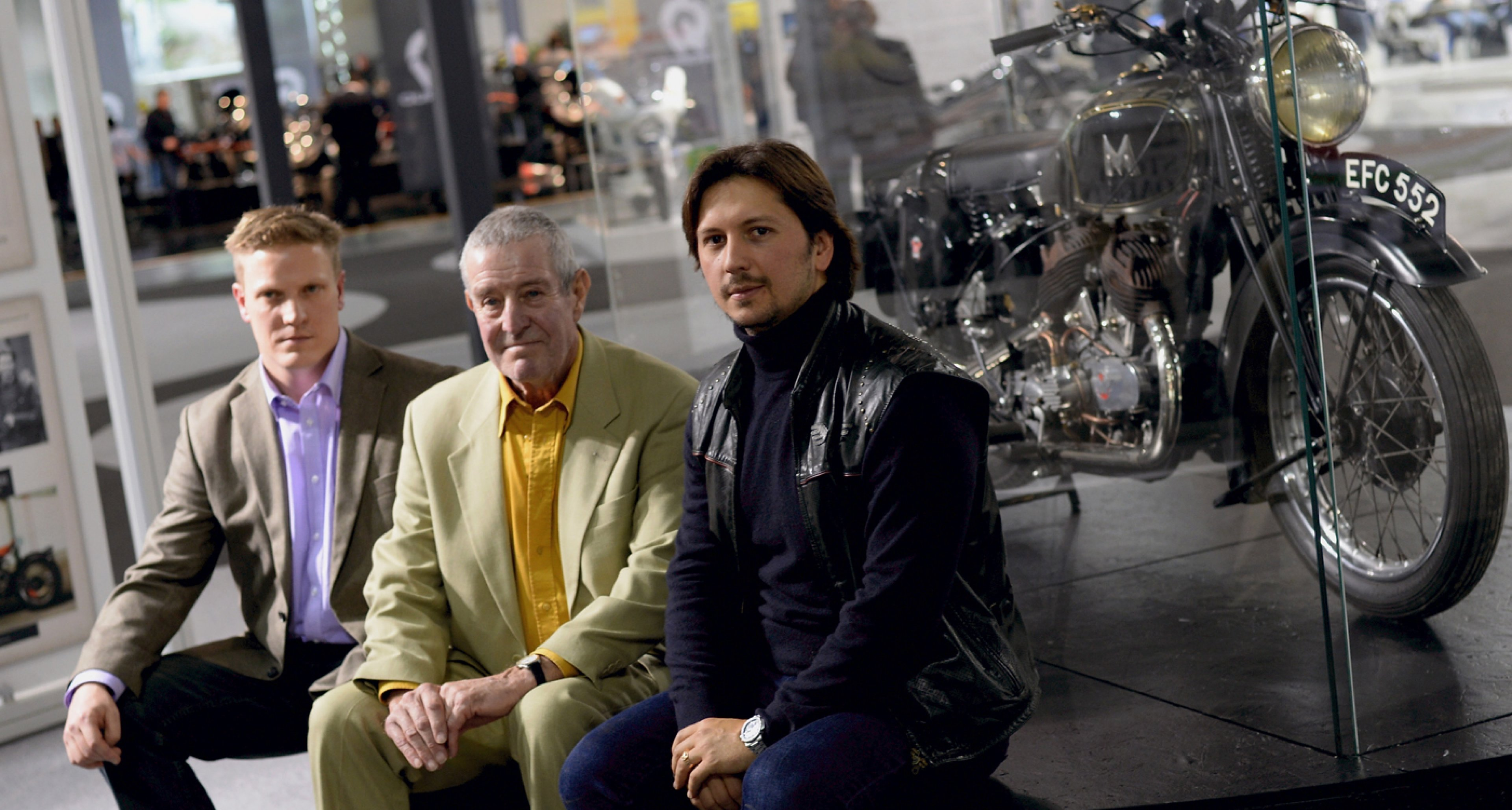 Nicholas John Kelleher, John Henry Kelleher and Matchless Chairman Franco Malenotti attend the Matchless Official Presentation of the model X Reloaded during the EICMA 2014 International Motorcycle Exhibition in Milan, Italy.
