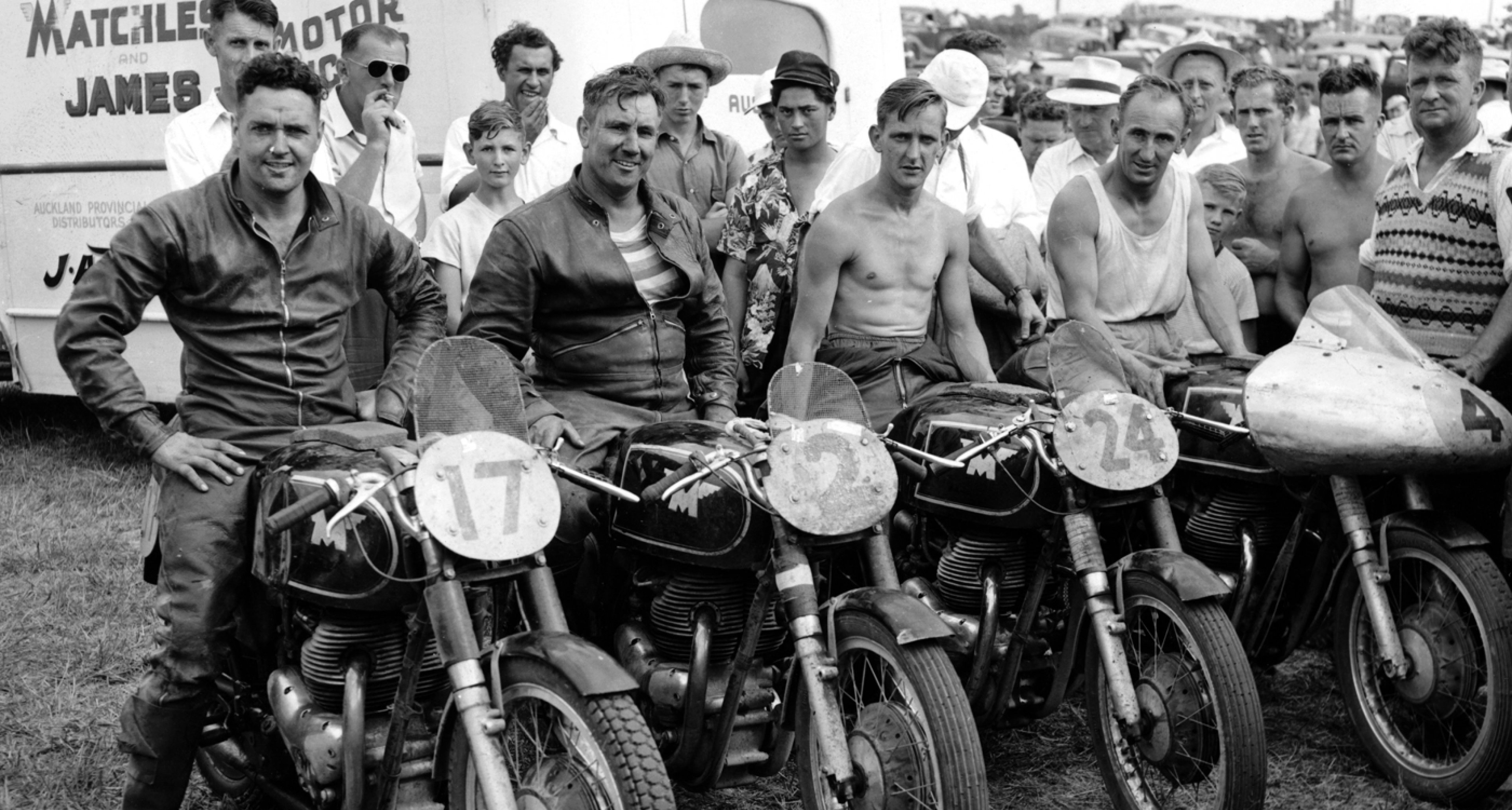 Matchless motorbike racing team. Lined up in front of their team bus.