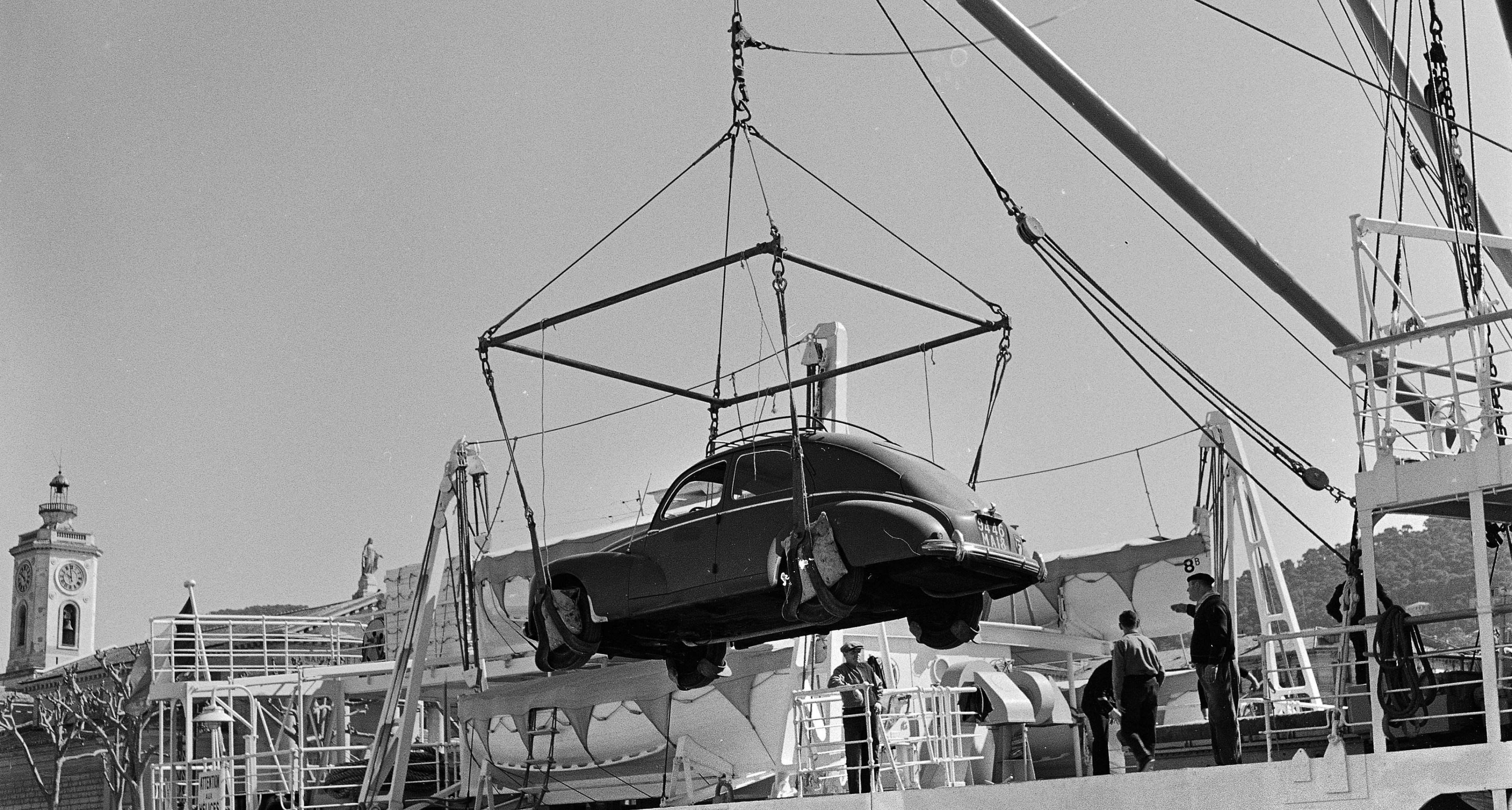 Loading of a car aboard the 'Cyrnos' operating between Nice and Corsica, about 1955. (Photo by Roger Viollet/Getty Images)
