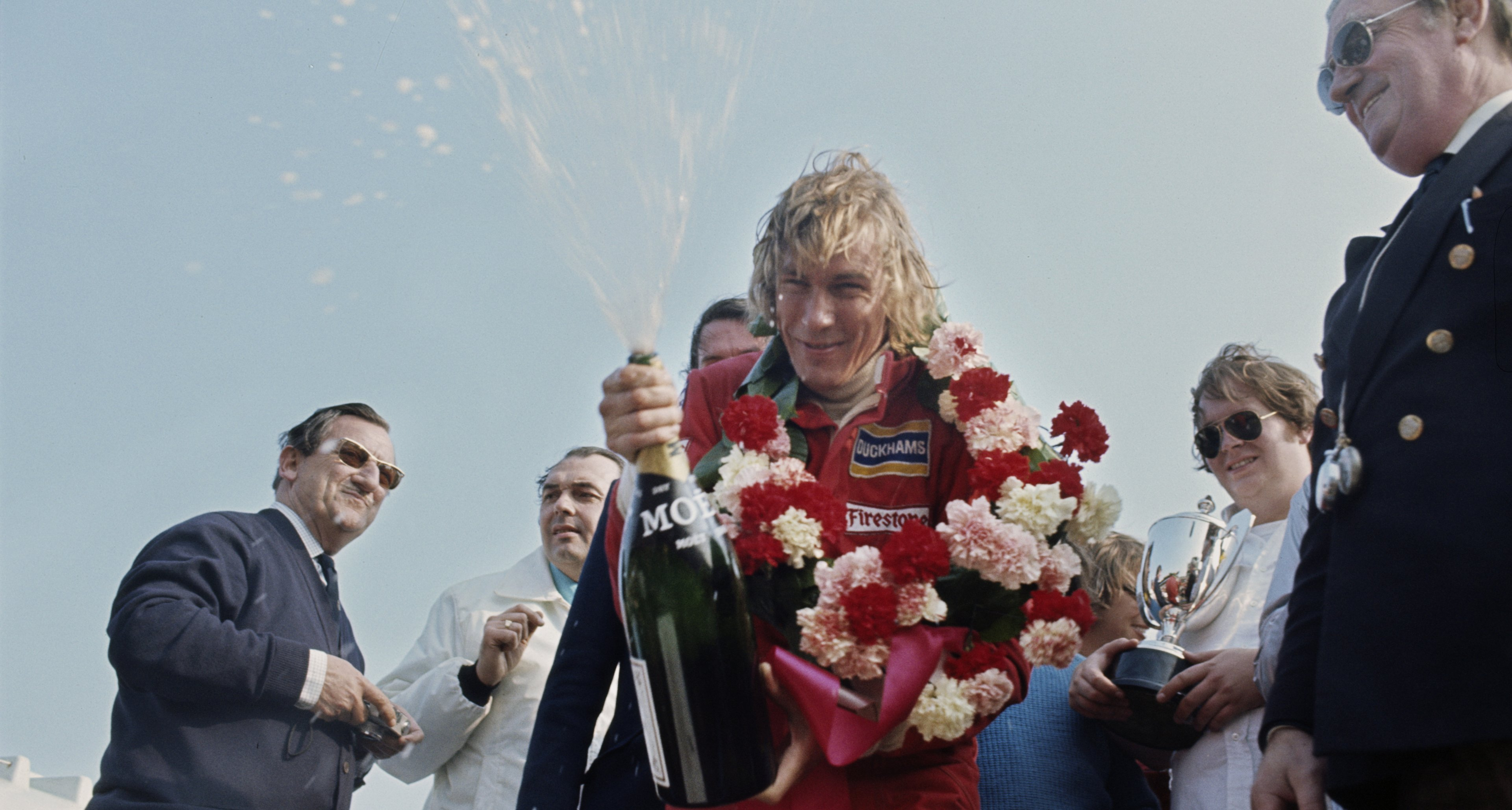 James Hunt at the presentation after the 26th British Racing Drivers Club International Trophy race, a non-championship Formula One event, held at Silverstone on 7th April 1974.