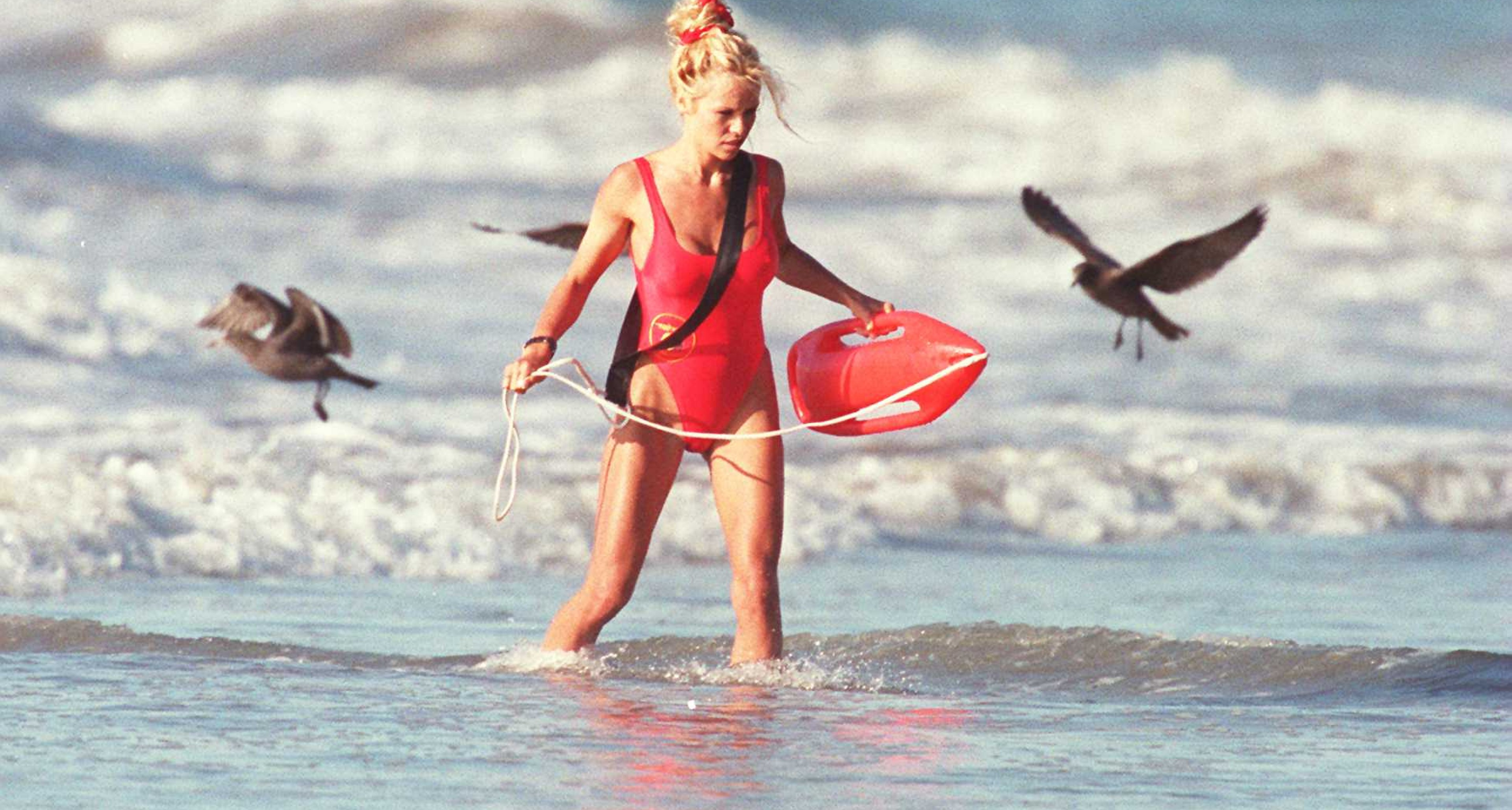 Pamela Anderson at the set of 'Baywatch' in Malibu Beach, 1995.