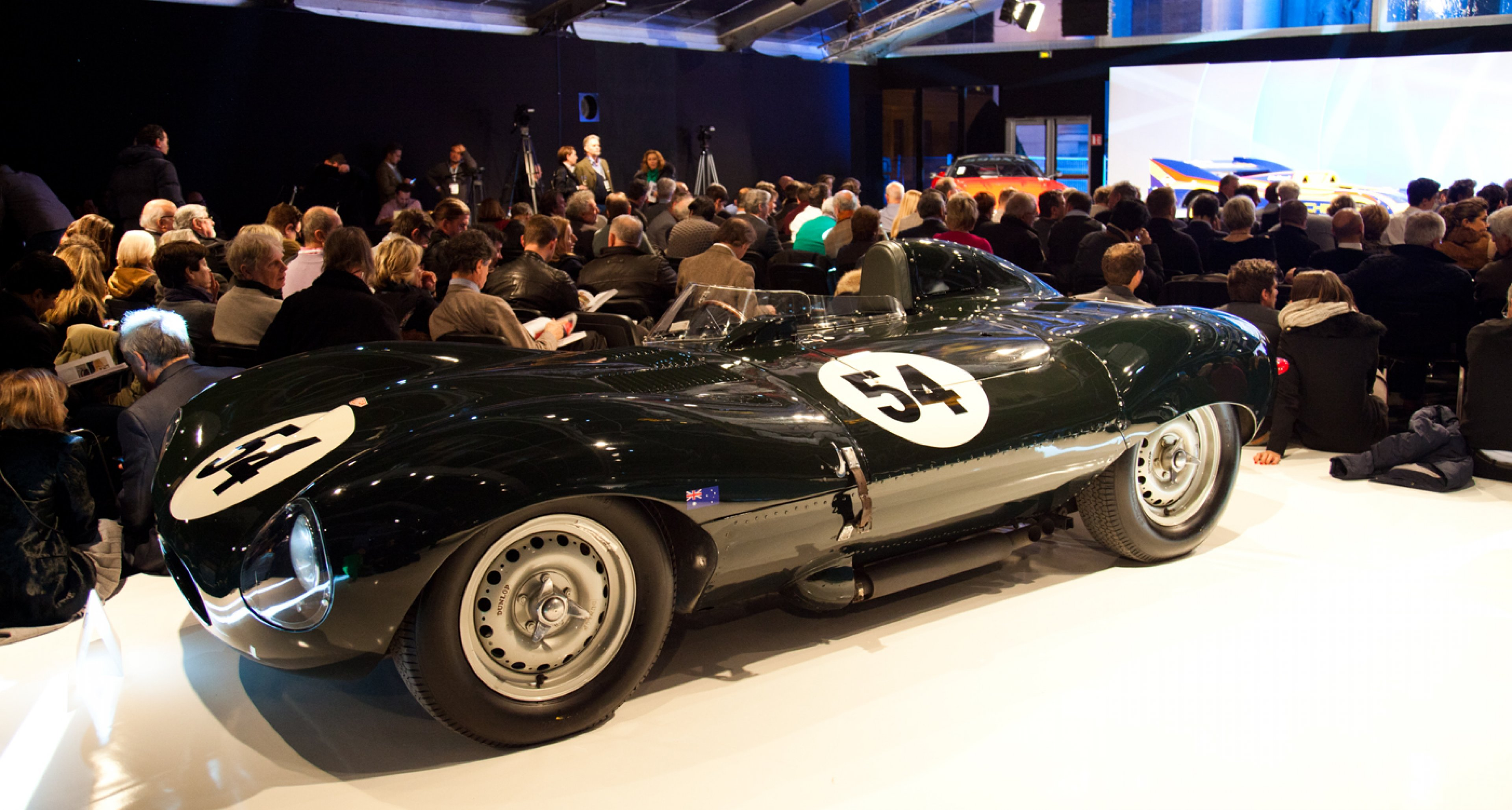 A Jaguar D-type, the most expensive car of the sale (sold for €3,696,000)