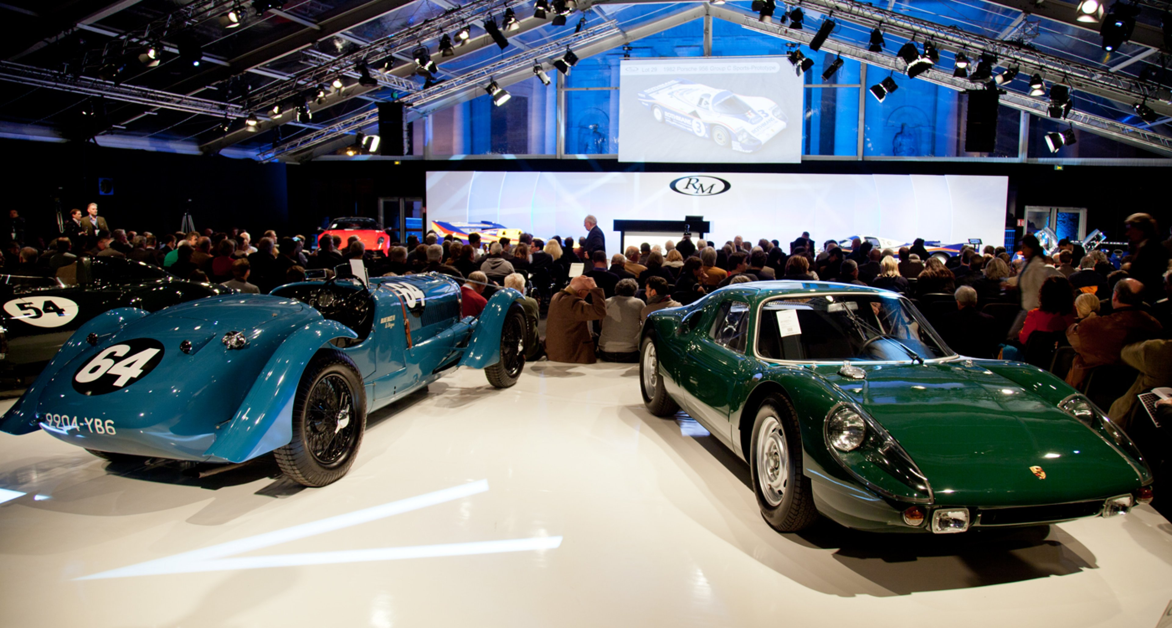 Delahaye 135 S (sold for €1,008,000) and Porsche 904 Carrera GTS (sold for €1,288,000) at RM Auctions first Retromobile auction in Paris.