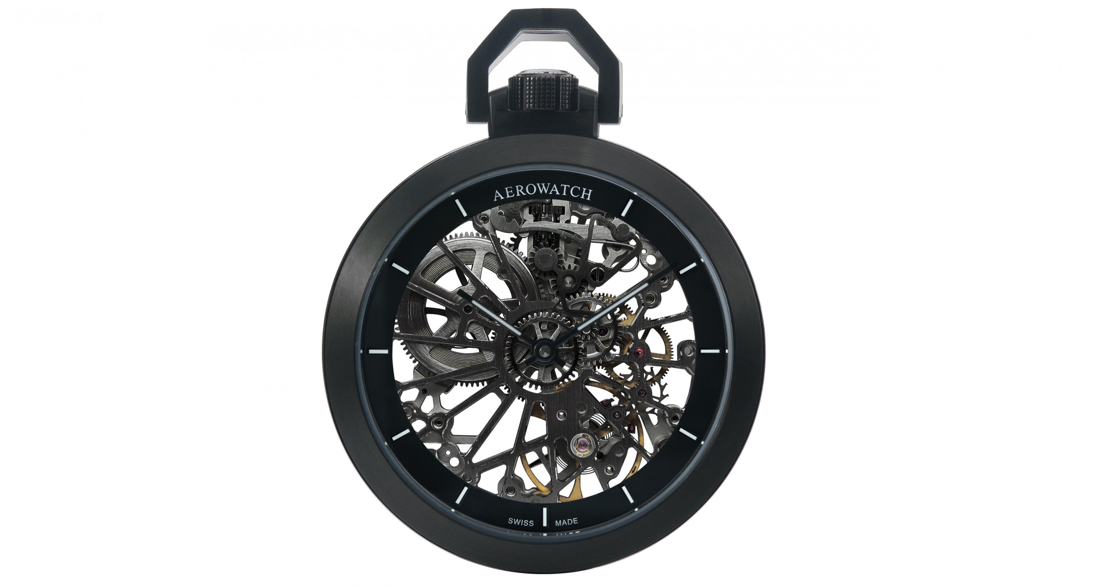 The Aerowatch Toile d'Araignée full skeleton black coated pocket watch (1.980,- €)