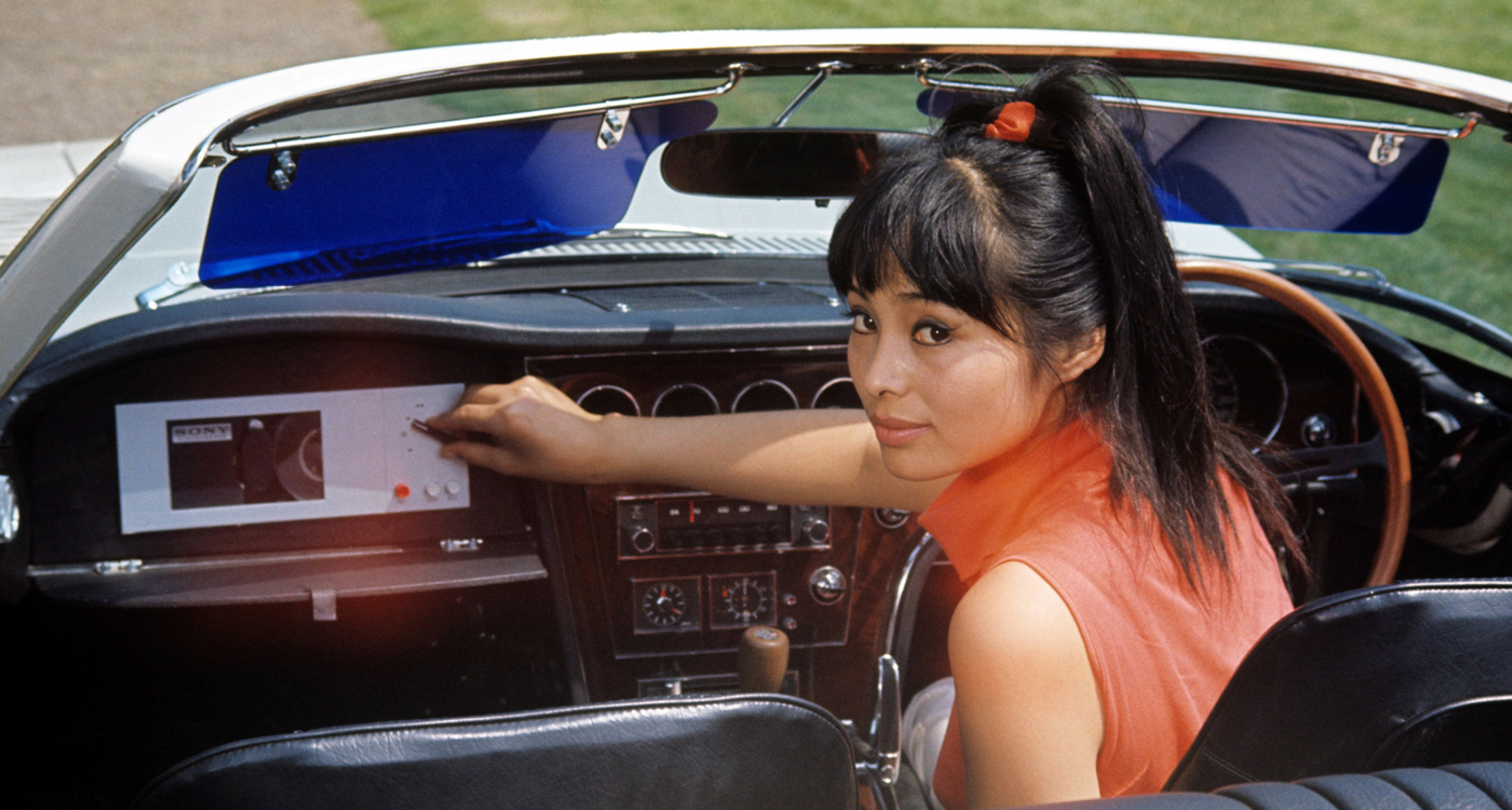 Akiko Wakabayashi as Bond Girl Aki, driving a one-off Toyota 2000 GT convertible in 'You Only Live Twice'.