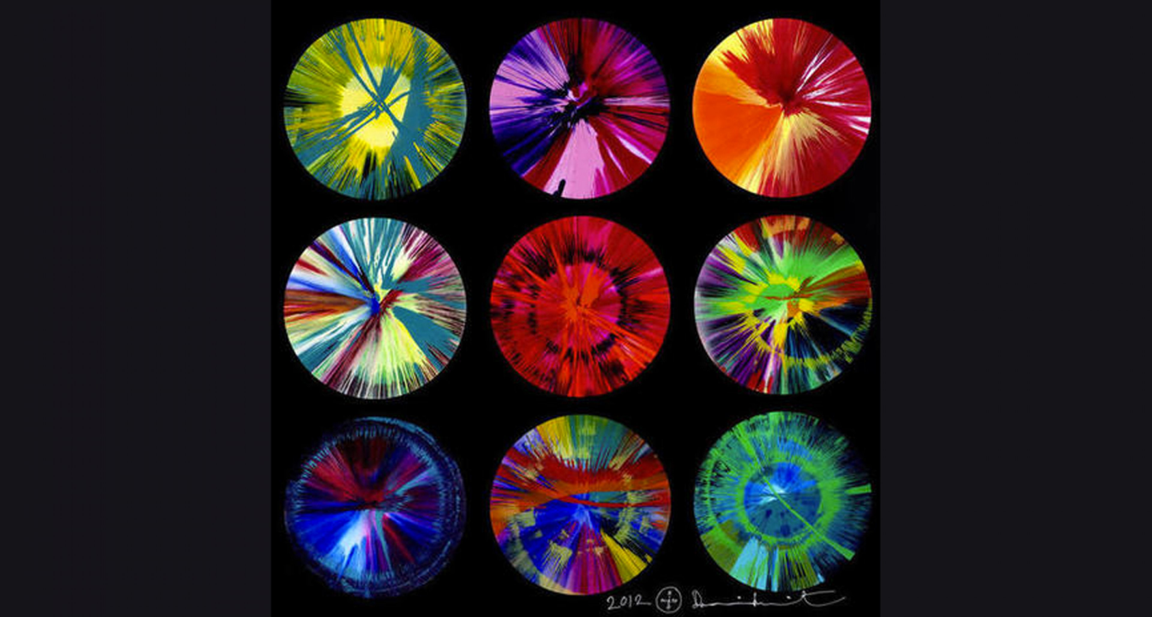 Damien Hirst, 'Beautiful Intergalactic Fantasmagoria in a Rainbow Big Bang Explosion, Let's Have More Intercourse' Charity Painting, estimate £60,000 - 80,000.
