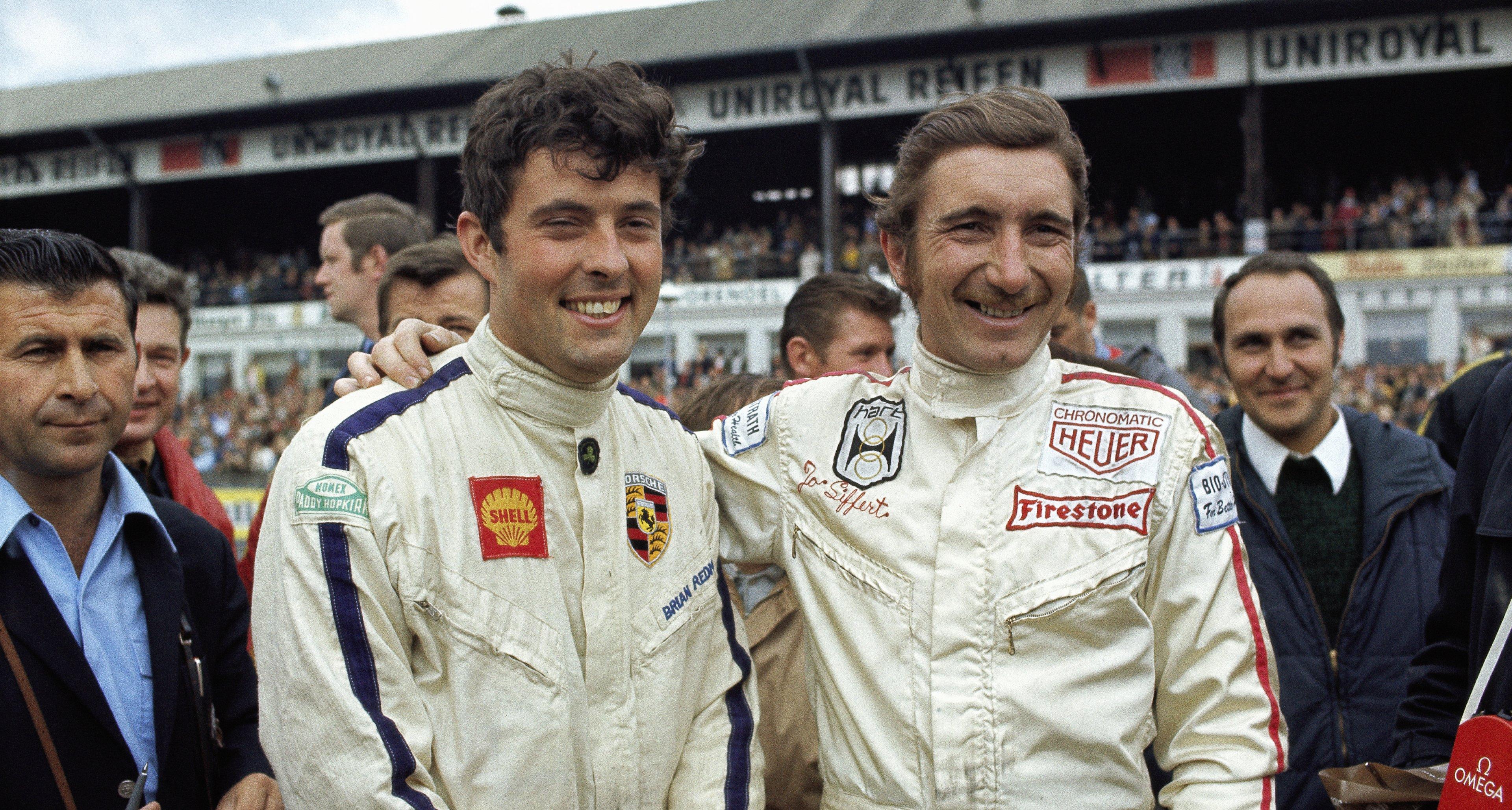 Porsche team-mates Brian Redman and Jo Siffert, 1000 km Nuerburgring 1969, Nuerburgring, Germany, 01 June 1969.