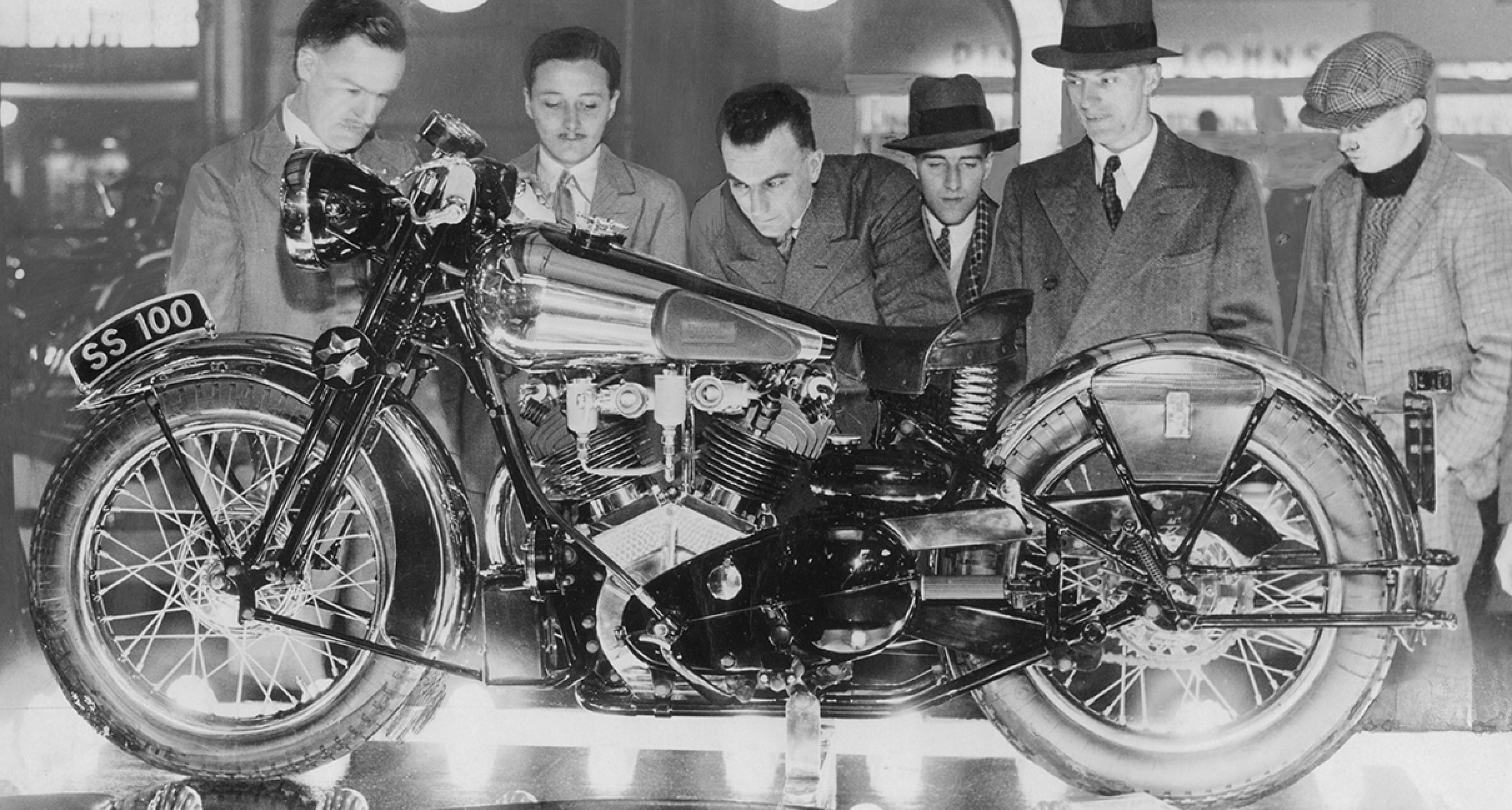 An original Brough Superior SS100 in the factory