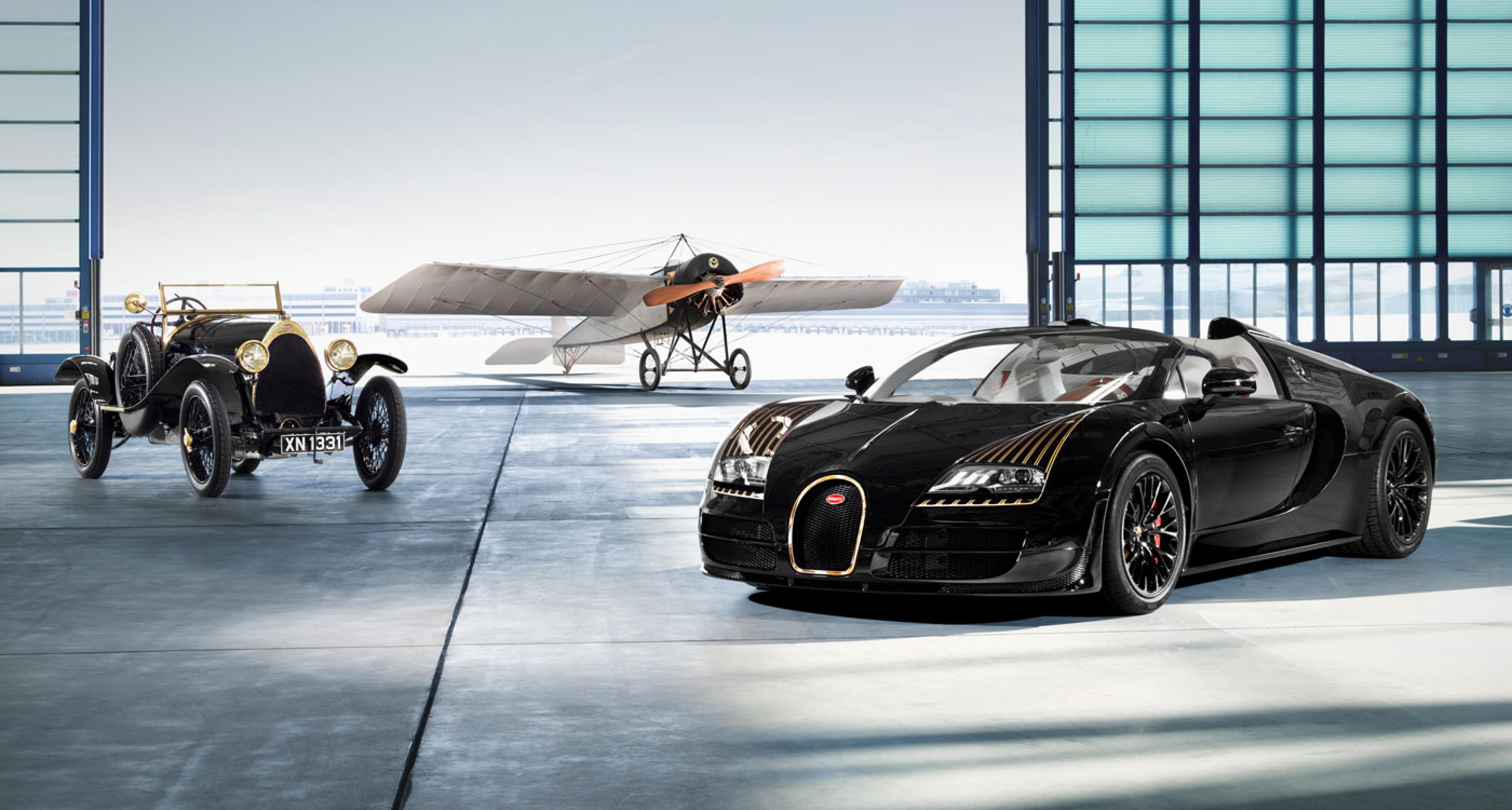 "Bugatti Typ 18 ""Black Bess"", Bugatti Vitesse Legende ""Black Bess"" and Morane Saulnier Type H"