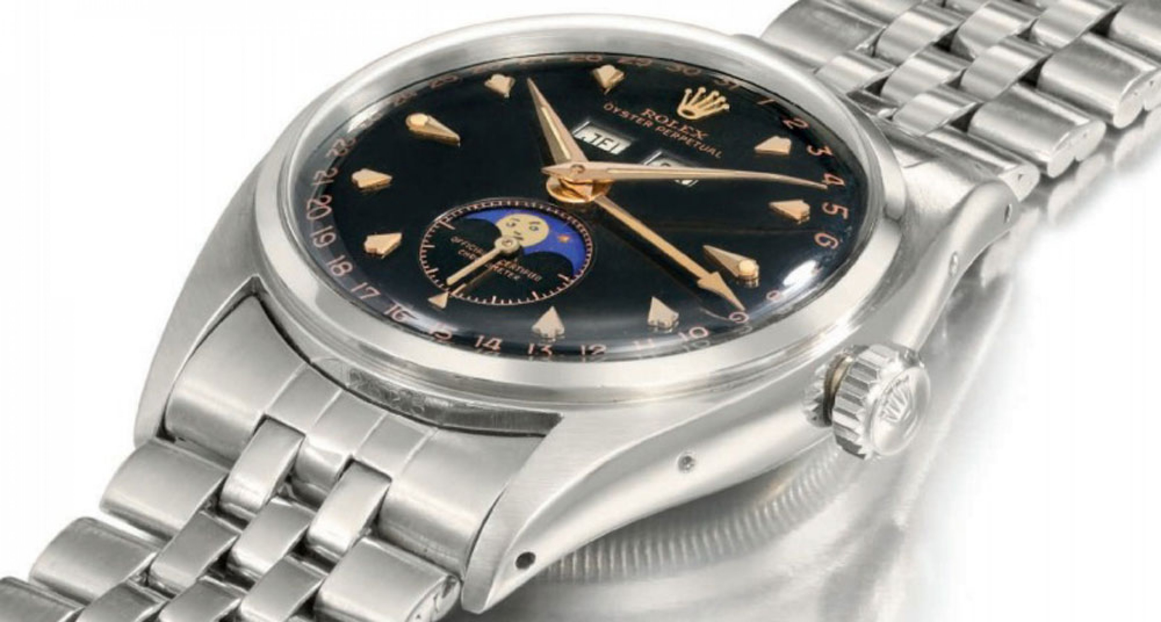 Lot 262 the very rare Rolex with moonphase and no indexes