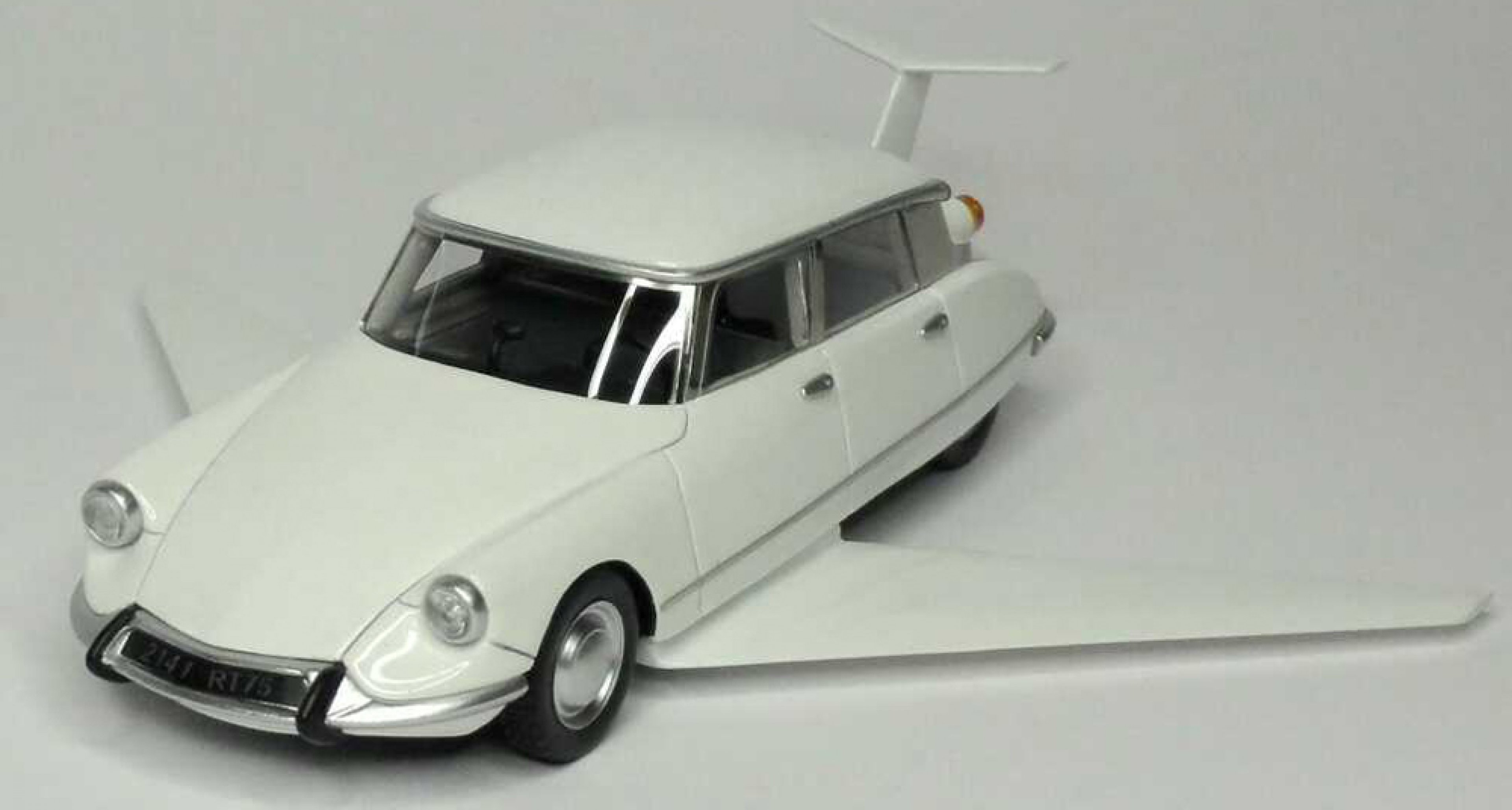 A scale model of the 'flying' DS famously used in the 1965 film 'Fantômas se déchaîne'