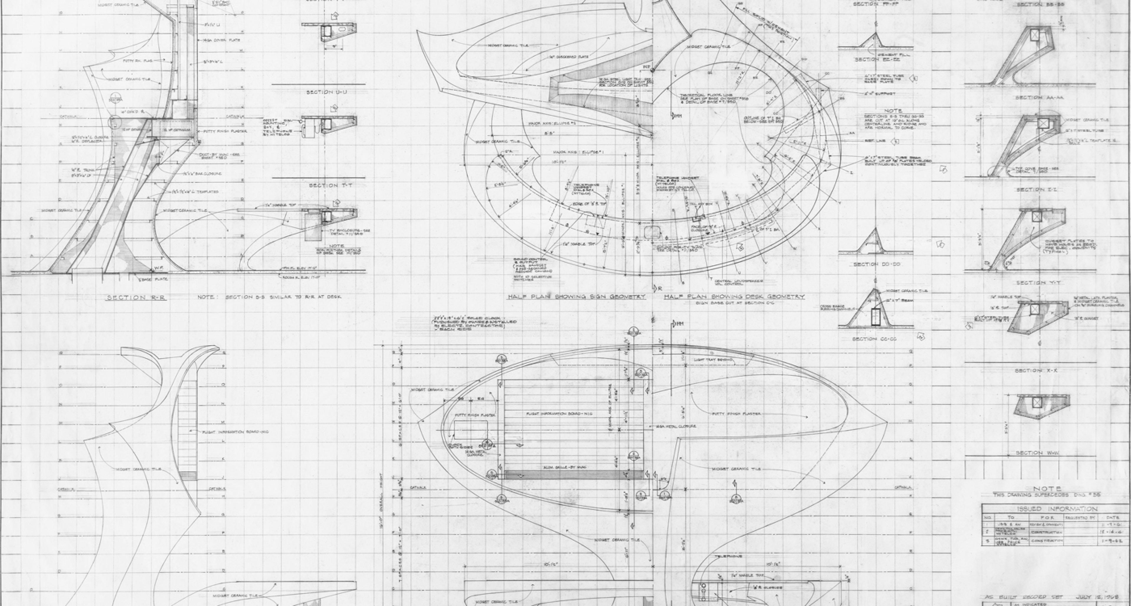 Grundriss, Schnitt, Ansicht Informationsschalter mit Anzeigetafel ohne Massstab, 90.5 × 66.8 cm, ES&A, 12. 7. 1963 © Eero Saarinen Collection (MS 593). Manuscripts and Archives, Yale University Library