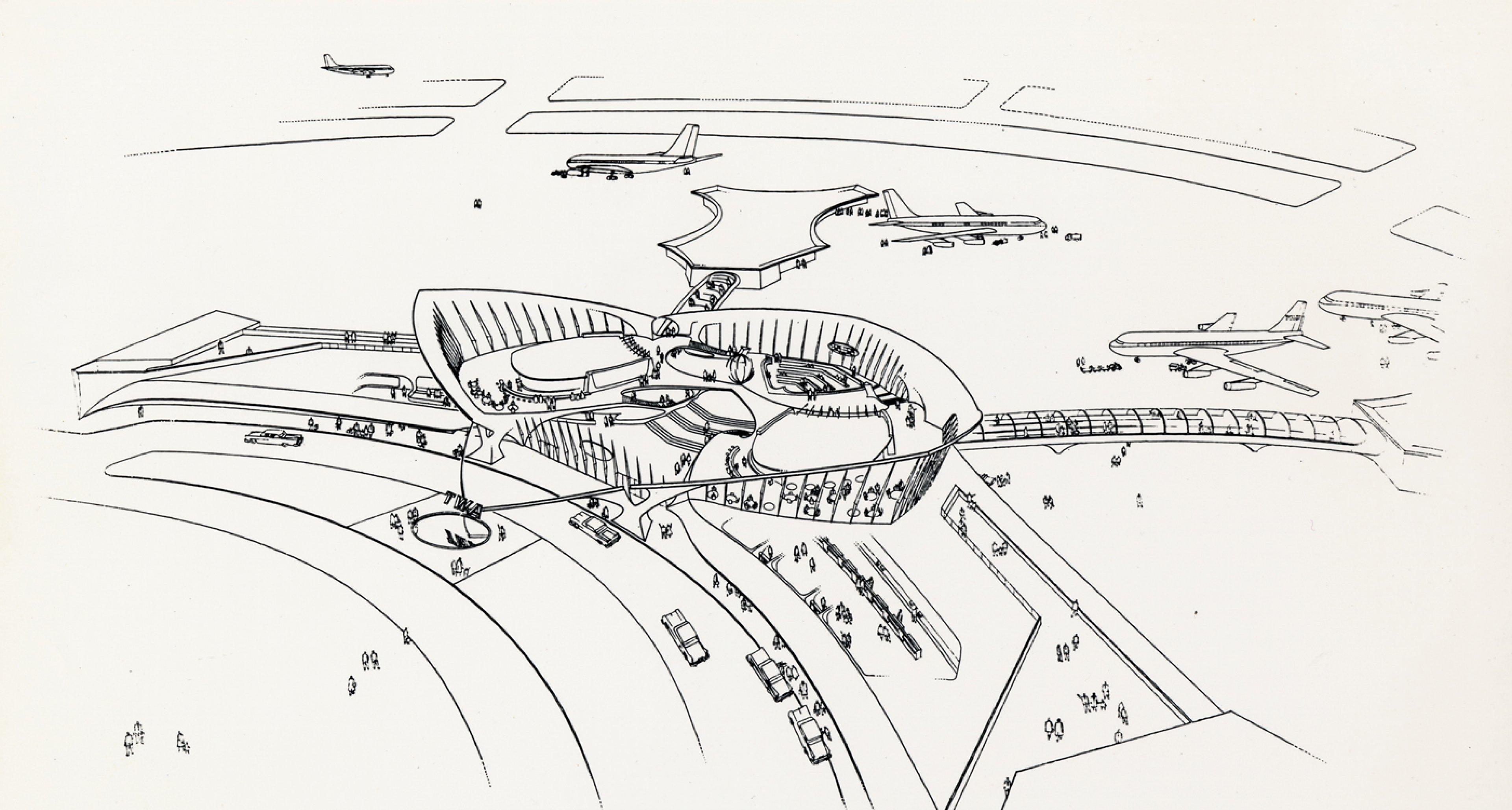 Erster Entwurf von ES&A für den Terminal © Eero Saarinen Collection (MS 593). Manuscripts and Archives, Yale University Library