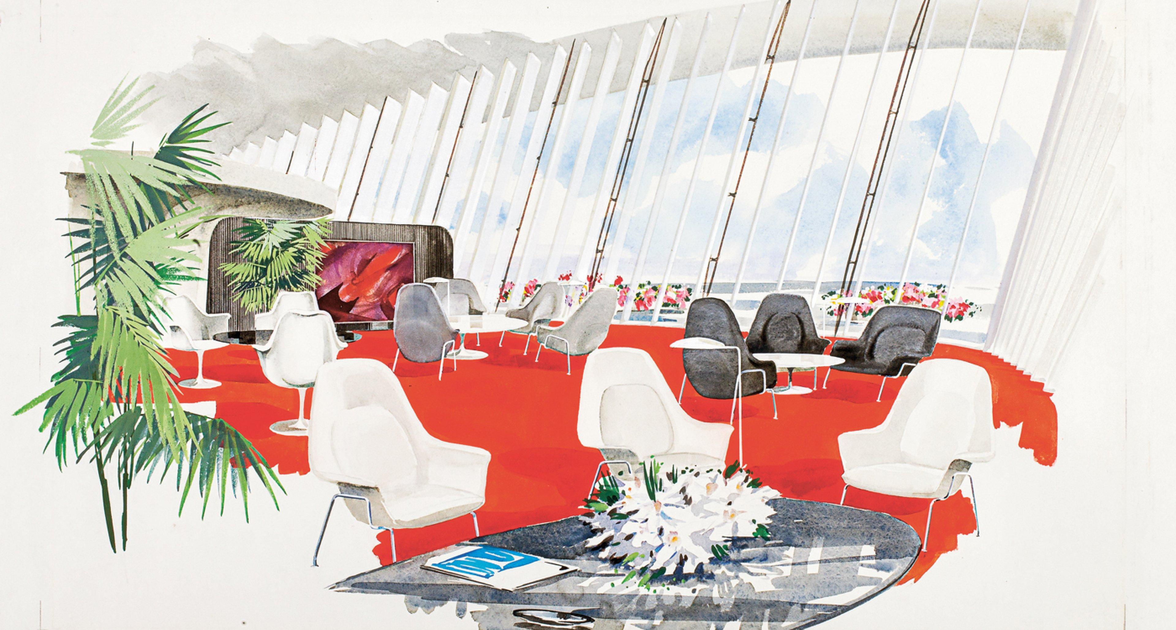 Zeichnung Innenansicht, Ambassador Lounge. Die öffentlichen Bereiche sind aufwendig gestaltet und entsprechen der TWA-Unternehmensoptik. © Illustrator ubk./Eero Saarinen Collection (MS 593). Manuscripts and Archives, Yale University Library