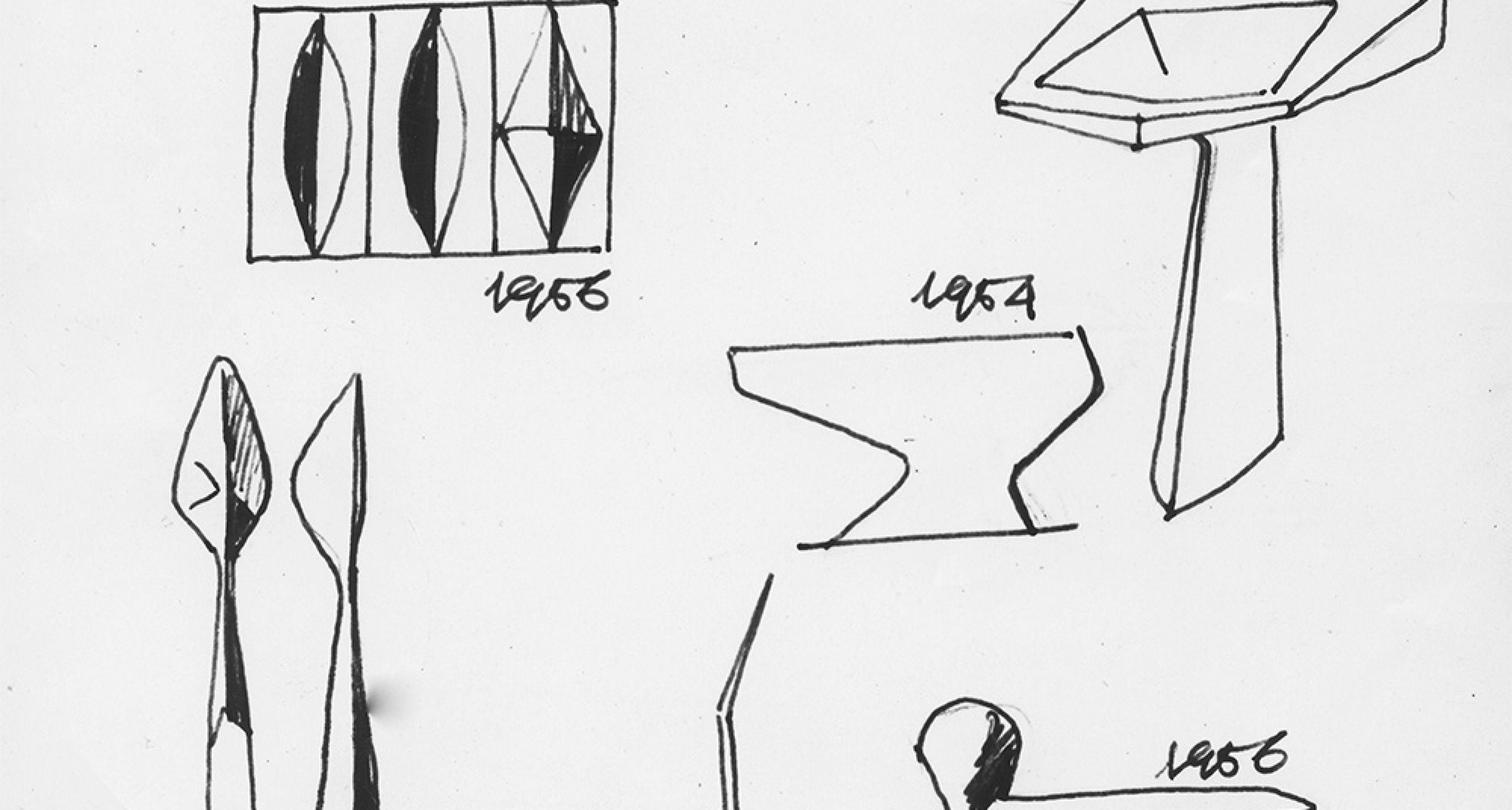 Drawings presented at industrial design exhibition at the 11th Milan Triennial — 1957, ink on paper © Gio Ponti Archives, Milan