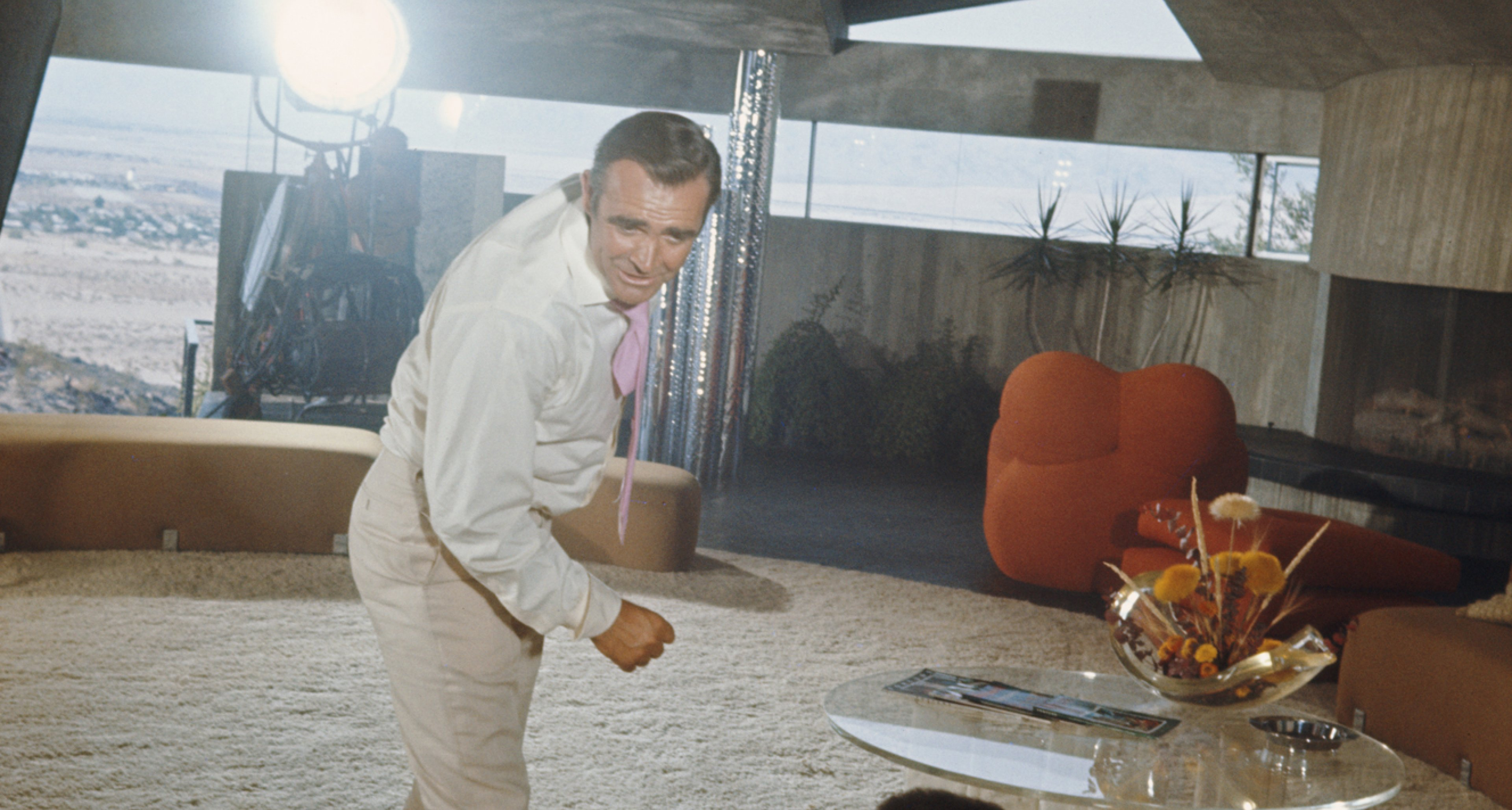 Shooting 'Diamonds are Forever' with Sean Connery at Elrod House by John Lautner in 1971.